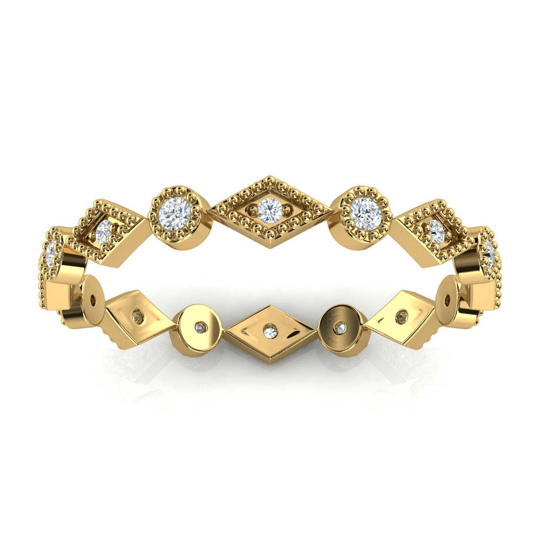 14K Yellow Gold Tuffy Petite Eternity Milgrain Diamond Ring (1/10 ct. tw)