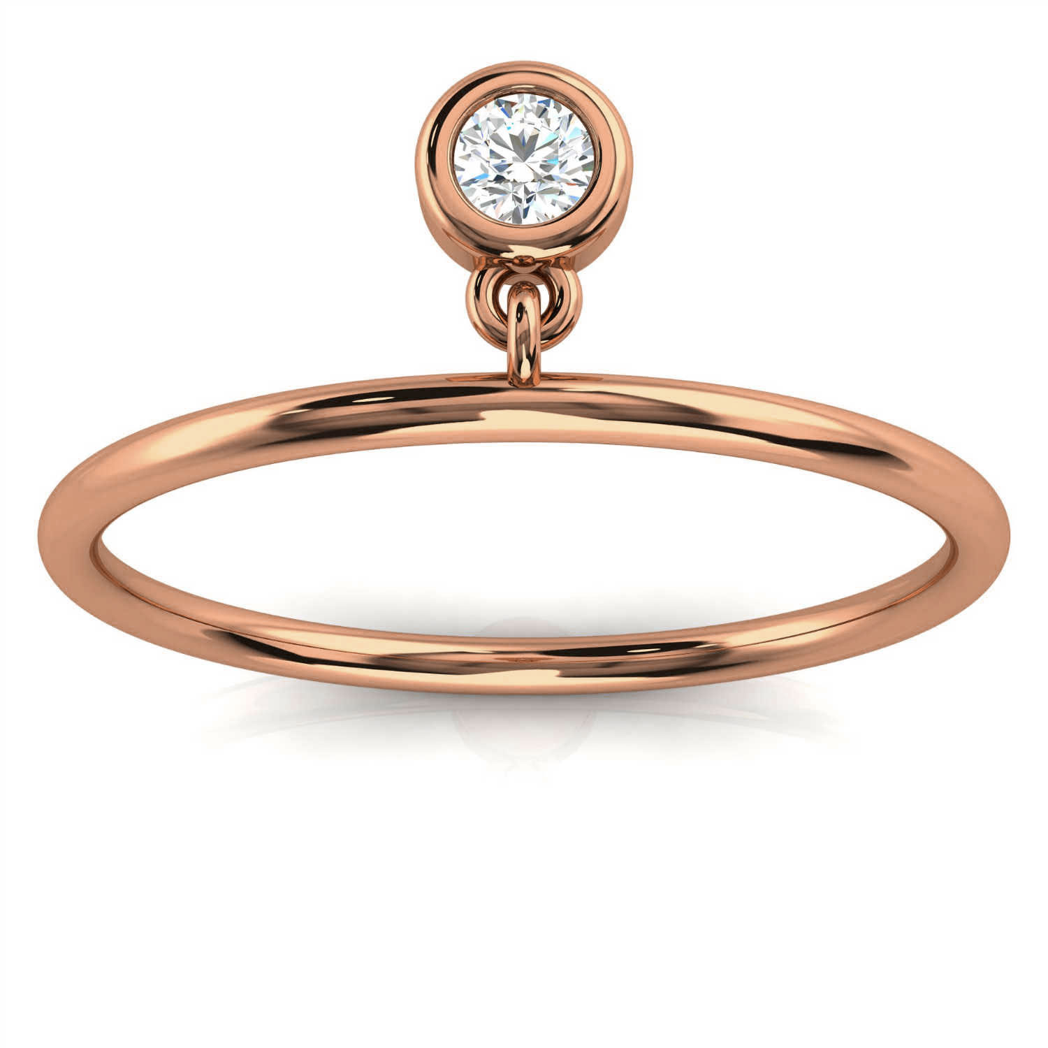 14k Rose Gold Hayley Bezel Minimalist Organic Design Diamond Ring ( 1/20 ct. tw)