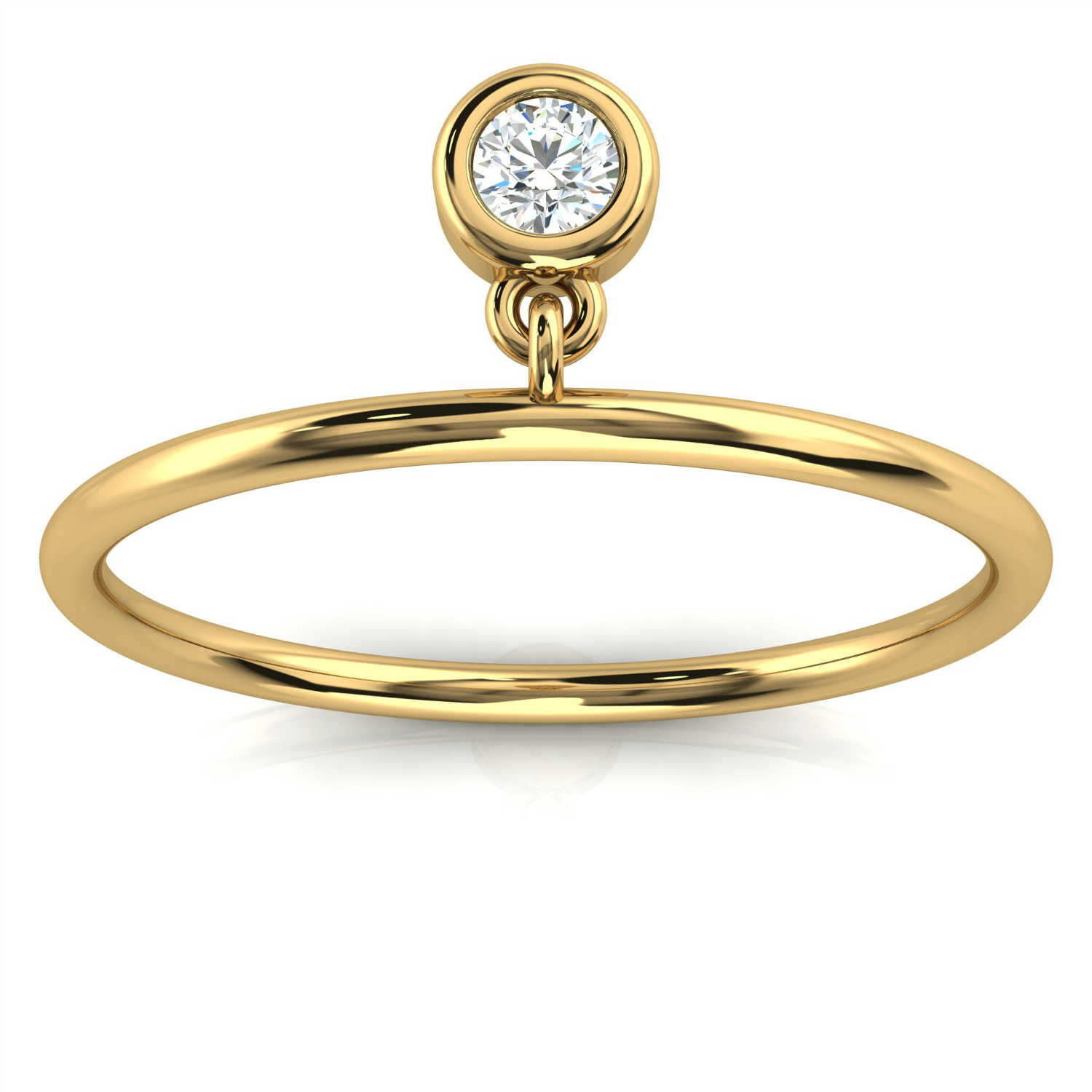 14k Yellow Gold Hayley Bezel Minimalist Organic Design Diamond Ring ( 1/20 ct. tw)
