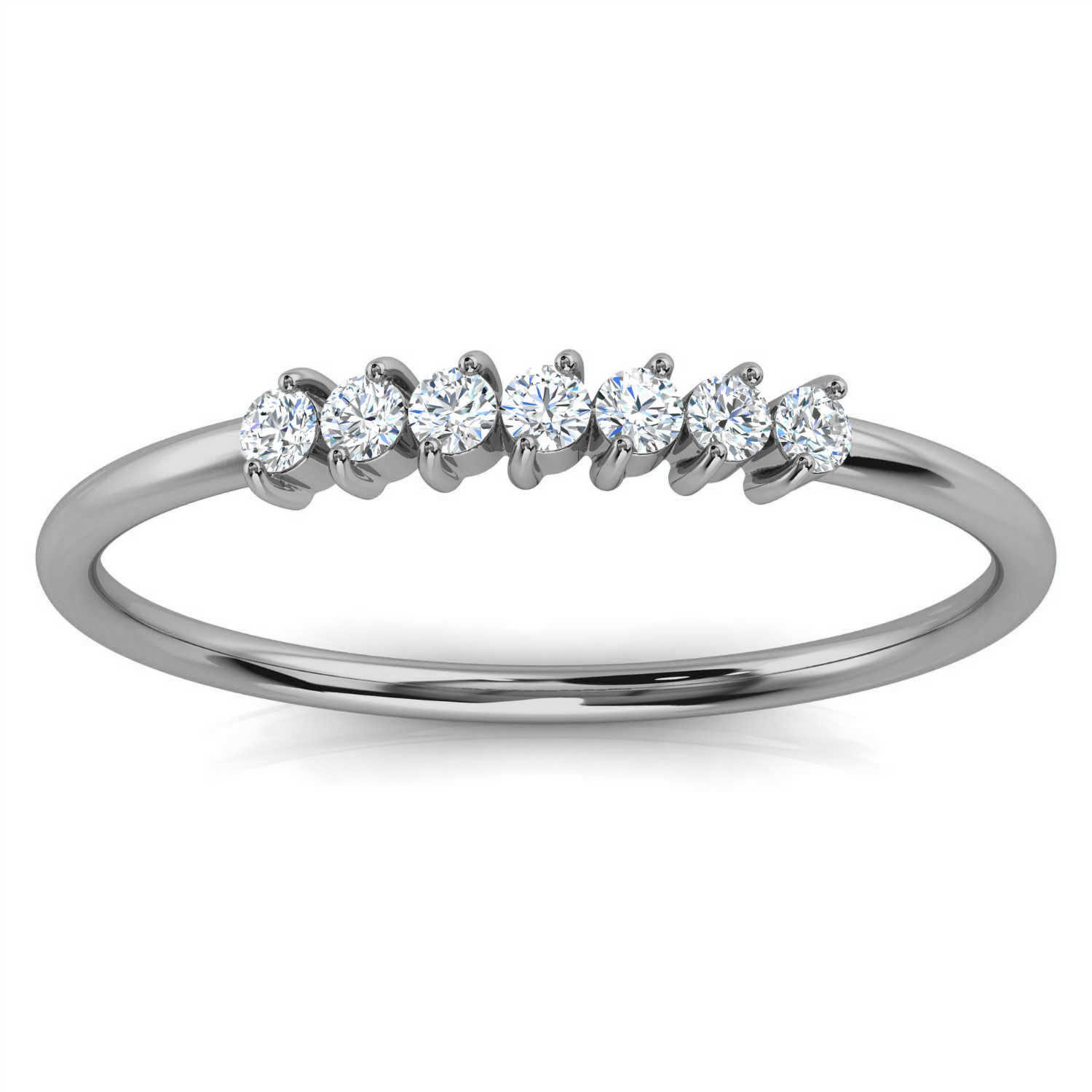 14K White Gold Shelby Minimalist Organic Design Diamond Ring (1/10 ct. tw)