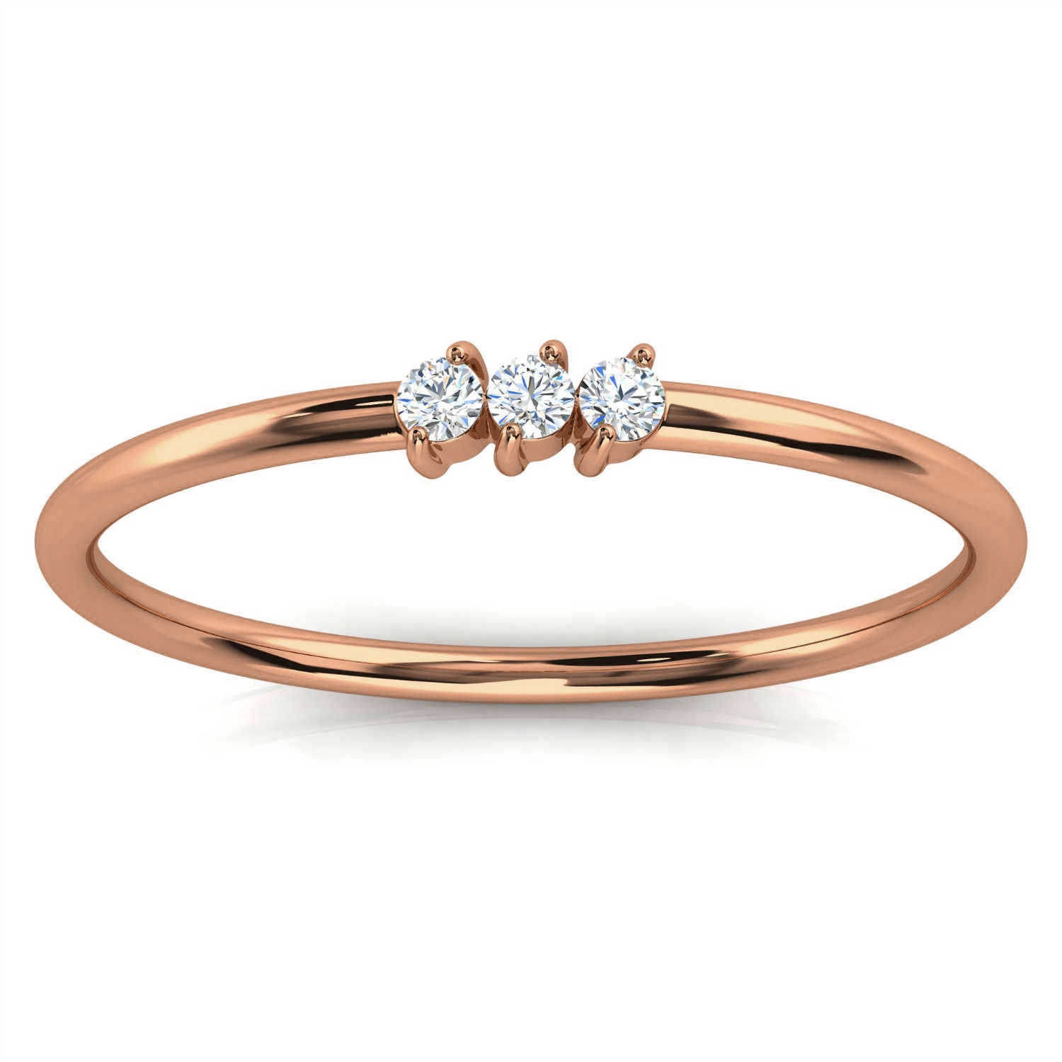 14K Rose Gold Elissa Minimalist Organic Design Diamond Ring ( 1/20 ct.tw)