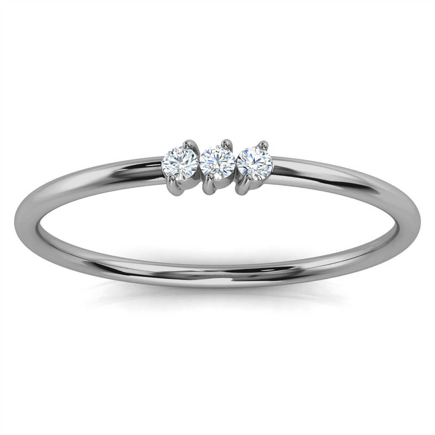 14K White Gold Elissa Minimalist Organic Design Diamond Ring (1/20 ct.tw)