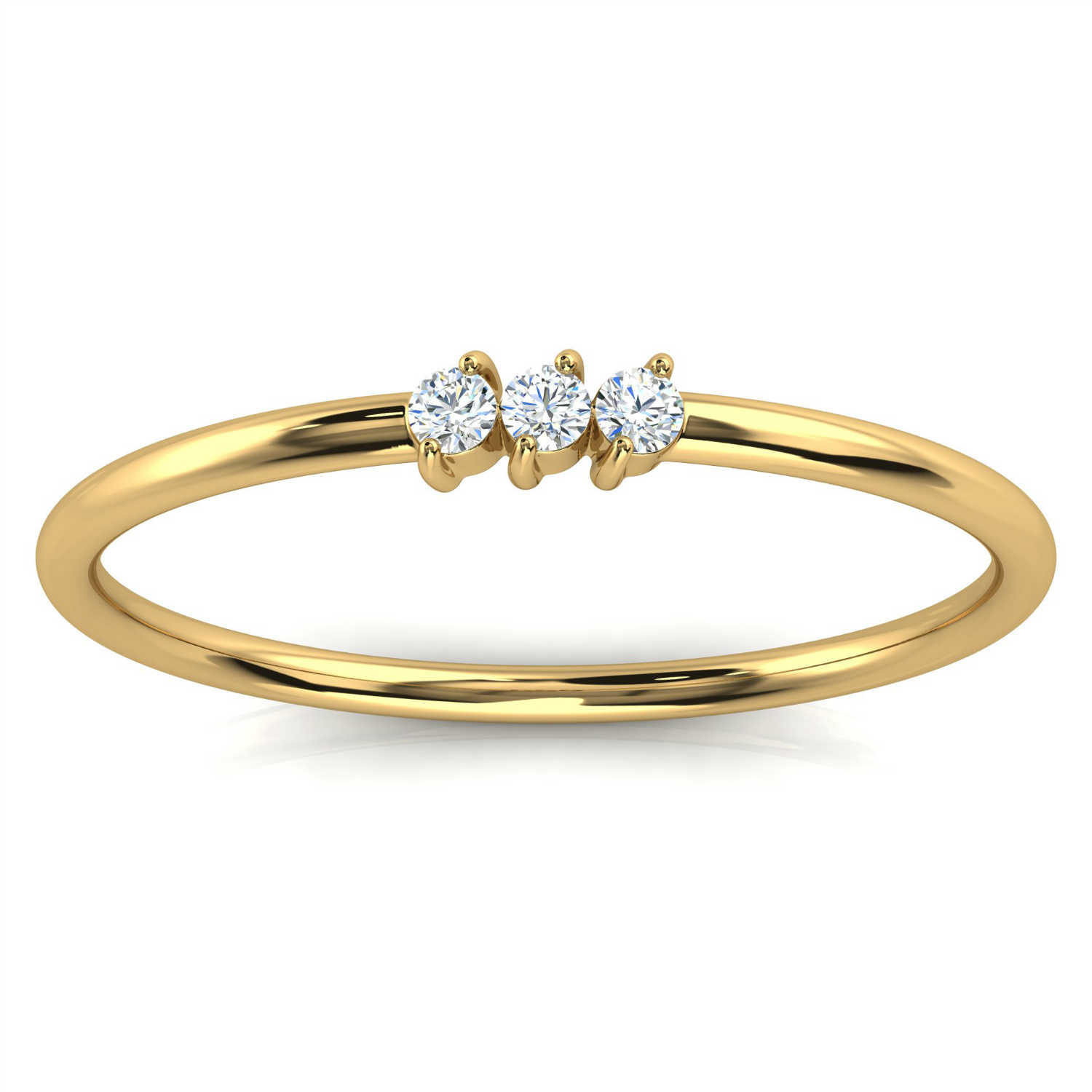 14K Yellow Gold Elissa Minimalist Organic Design Diamond Ring ( 1/20 ct.tw)