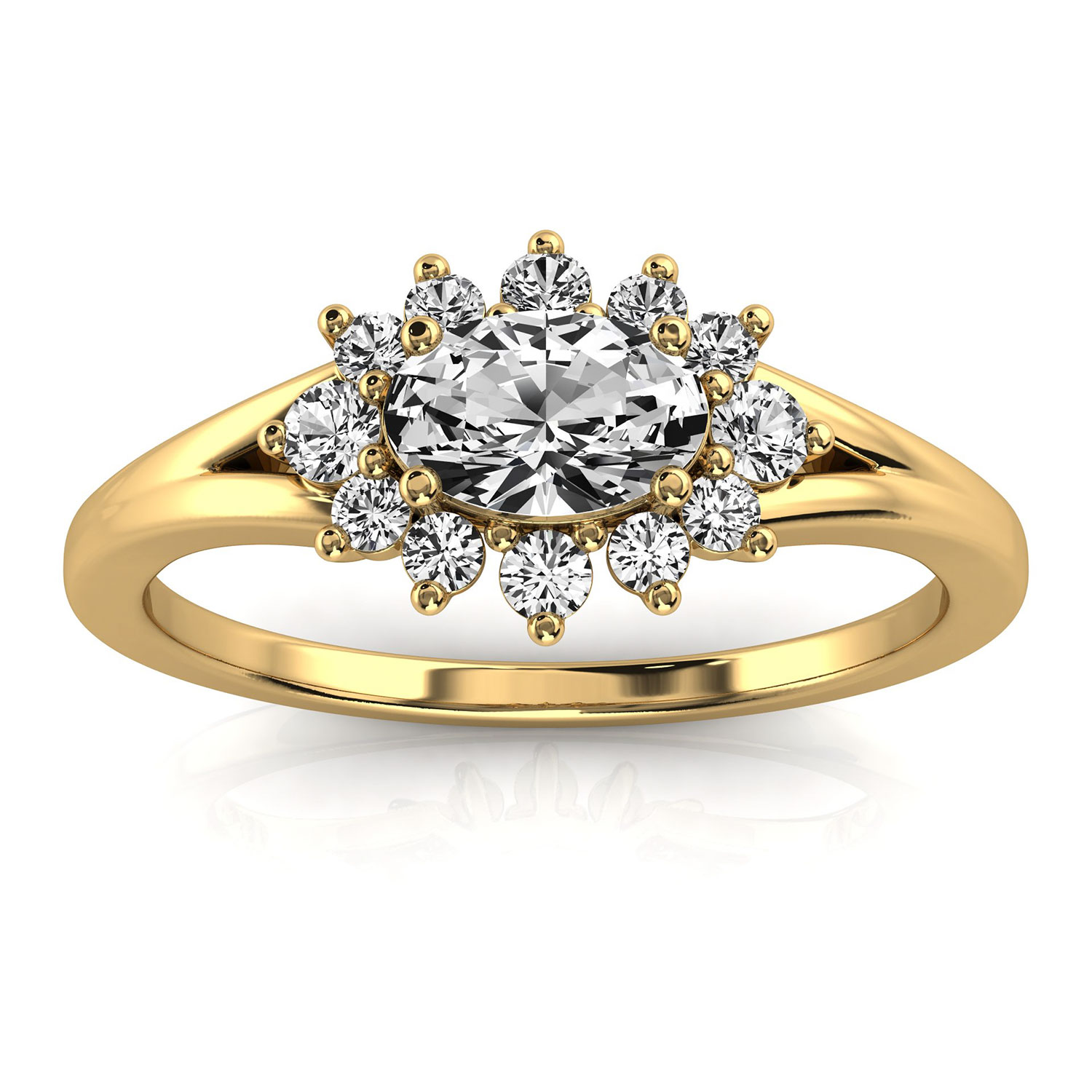 14K Yellow Gold Jodee Petite Earthy Organic Design Elongated Cushion Diamond Ring (Center - 1/2 Carat)