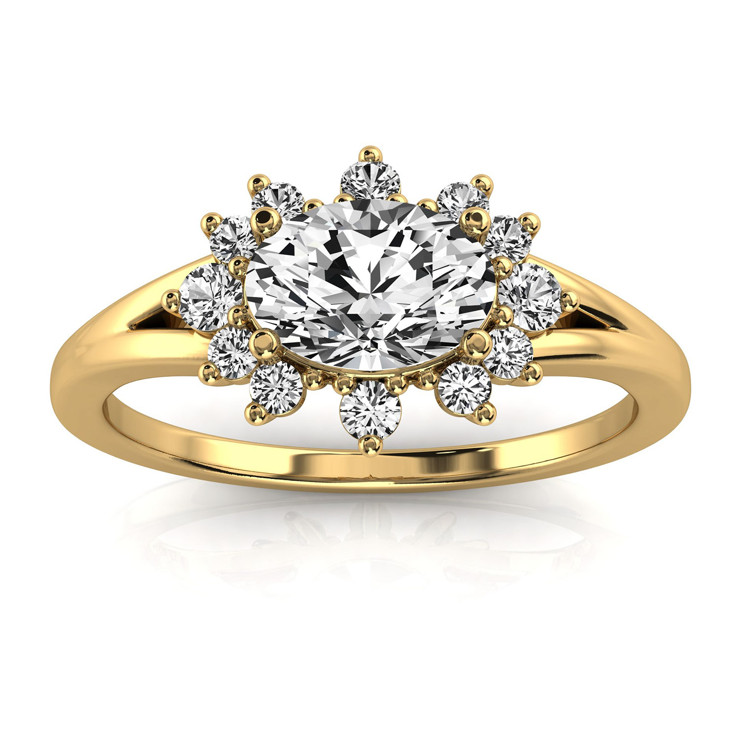 14K Yellow Gold Jodee Petite Earthy Organic Design Elongated Cushion Diamond Ring (Center - 3/4Carat)