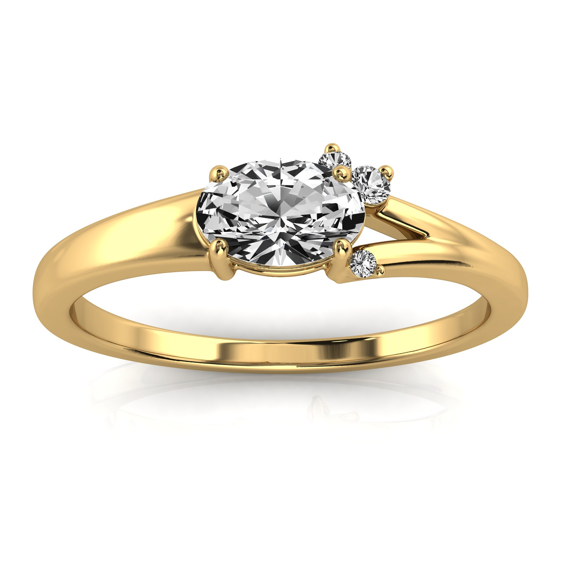14K Yellow Gold Jax Petite Earthy Organic Design Diamond Ring  (Center - 1/2 Carat)