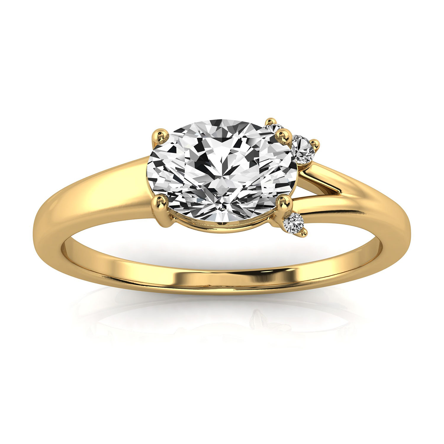 14K Yellow Gold Jax Petite Earthy Organic Design Diamond Ring  (Center - 3/4 Carat)
