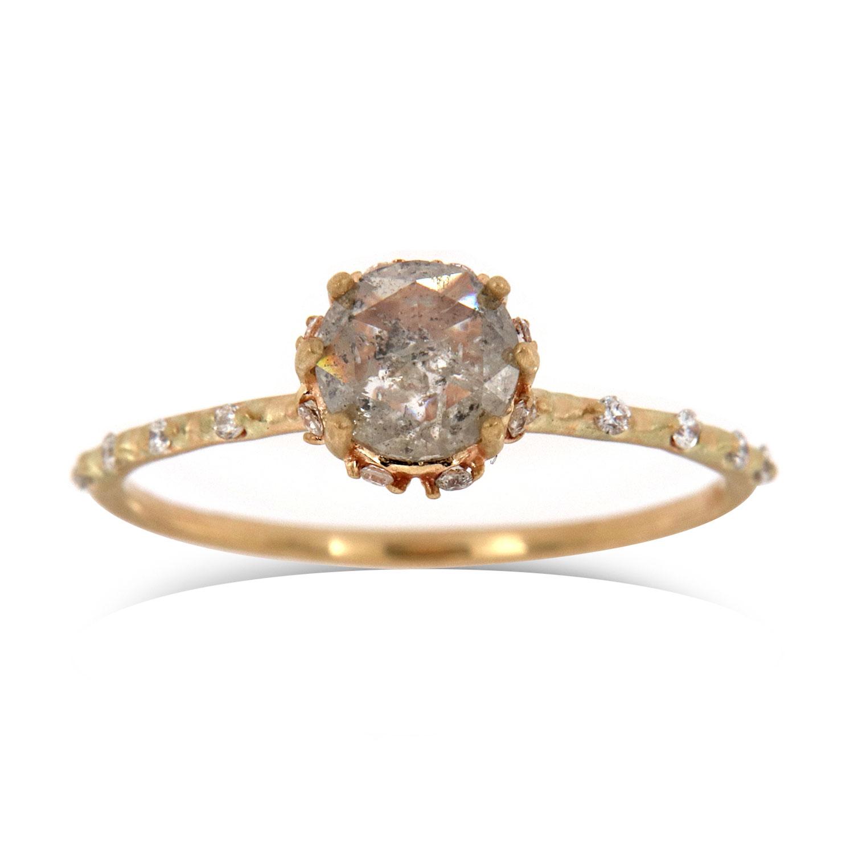 14K Yellow Gold Petite Tivoli Organic Earthy Salt & Pepper Diamond Ring ( Center-0.90 Carat)