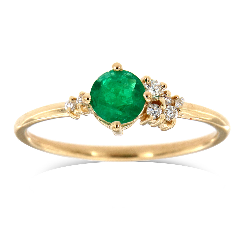 14K Yellow Gold Petite Marlo Organic Round Yellow Sapphire Diamond Ring ( Center- 0.50 Carat )