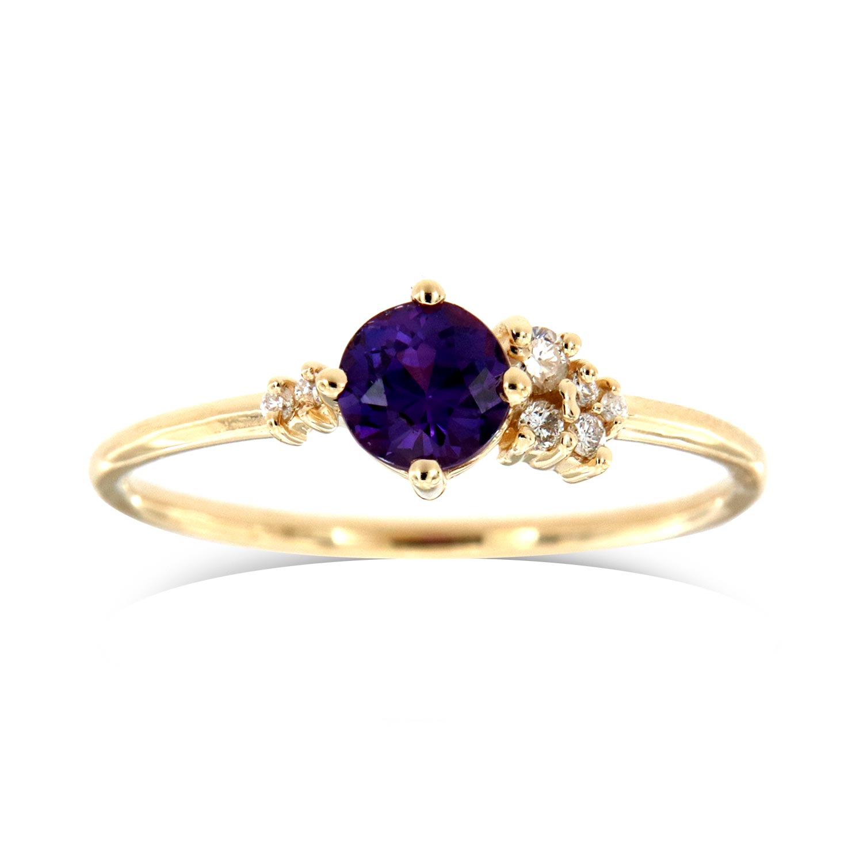 14K Yellow Gold Petite Marlo Organic Round Purple Sapphire Diamond Ring ( Center- 0.58 Carat)