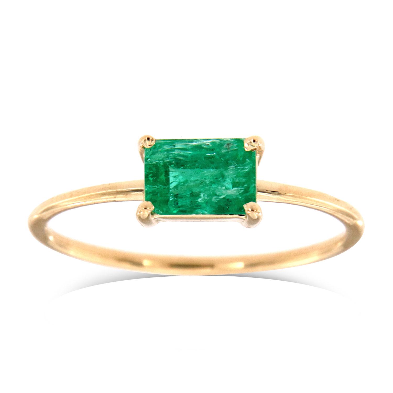 14K Yellow Gold Cara Green Rustic  Emerald Solitaire Ring (Center - 0.60 Carat)
