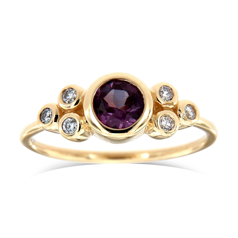 14K Yellow Gold Delicate Genia Organic Round Purple Sapphire Diamond Ring ( Center-0.59 Carat)