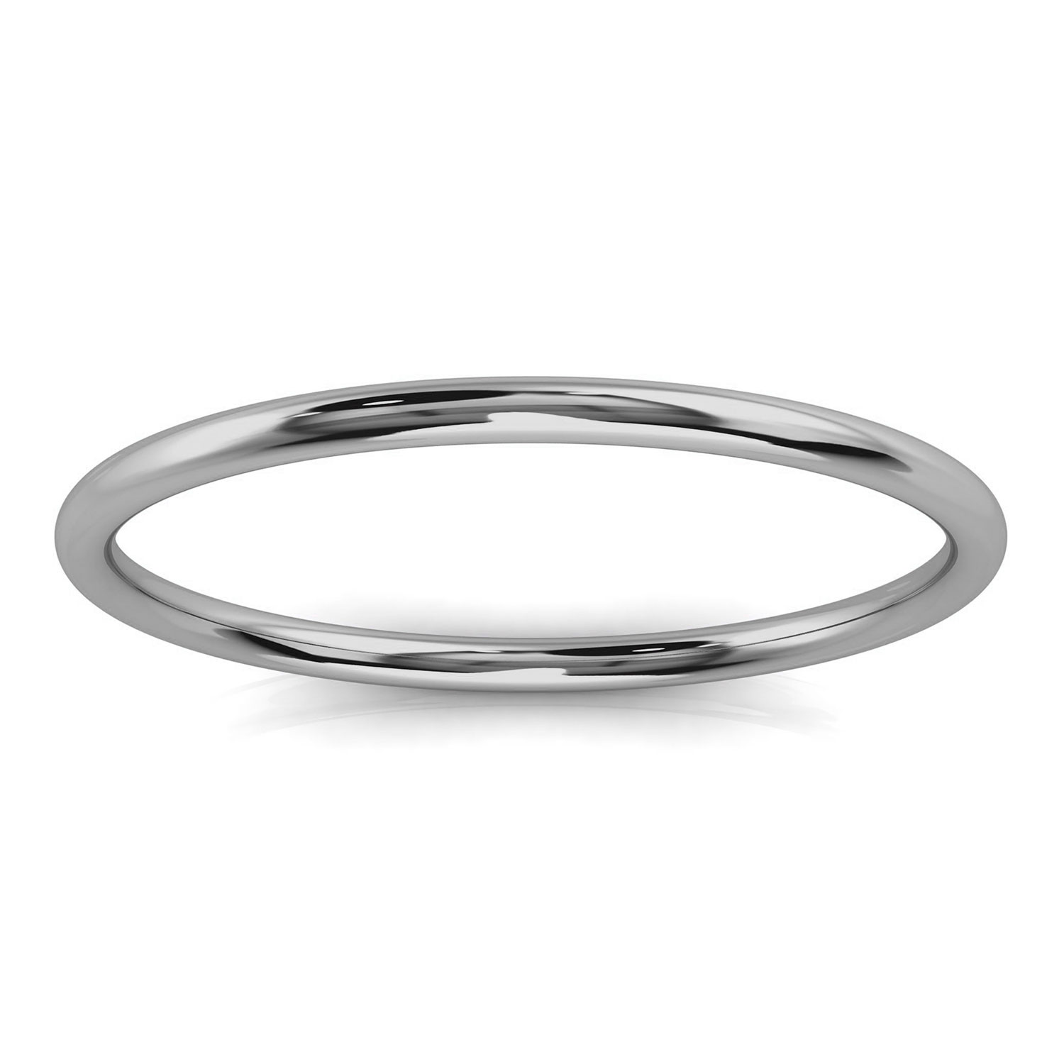 14K White Gold Minimalist Plain Nora Band 1.2 MM Wide