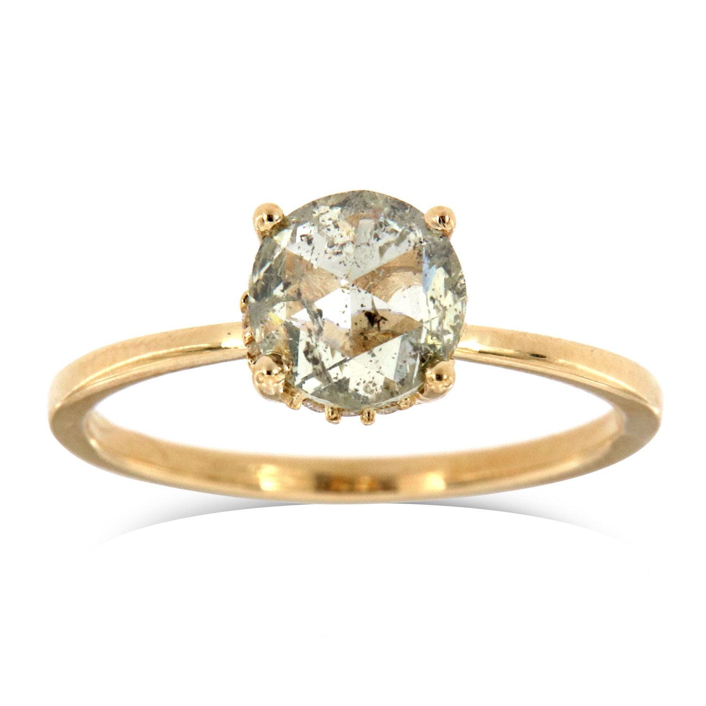 14K Yellow Gold Liv Delicate Organic Round Salt and Pepper Diamond Ring (Center: 1.28 Carat)