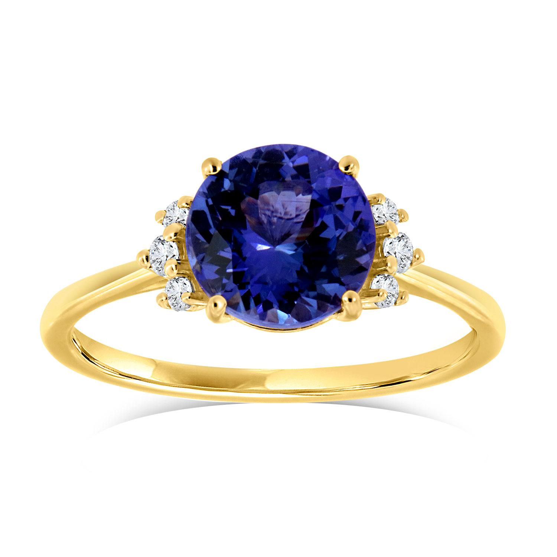 14K Yellow Gold Delicate Pauna Round Pinkish Purplish Tanzanite Diamond Ring (Center: 1.91 Carat)