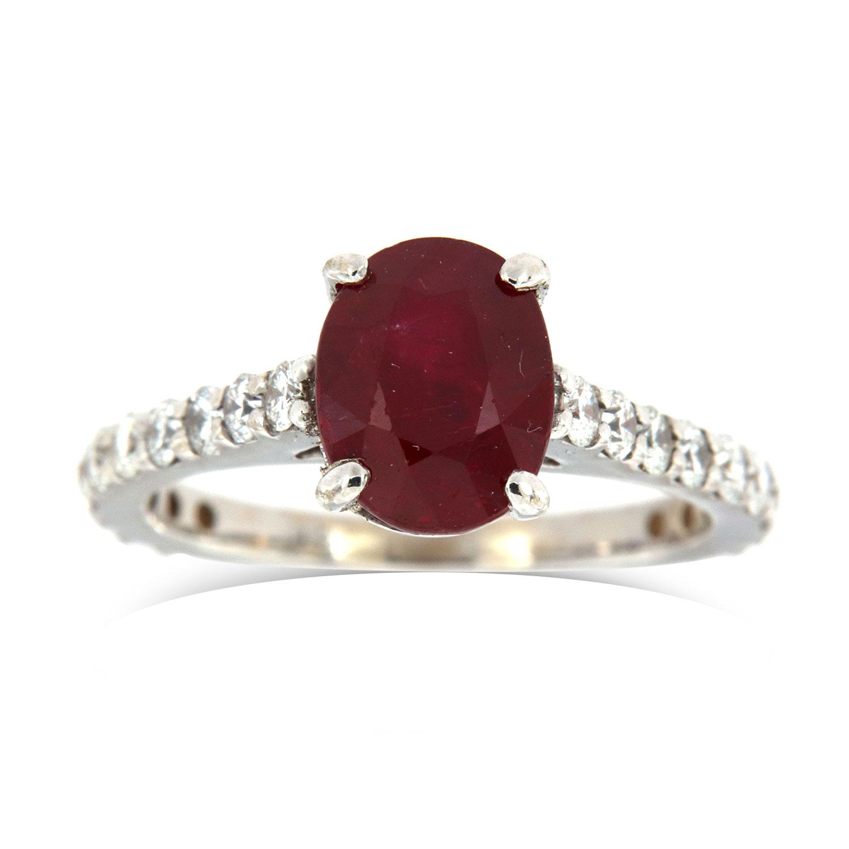18K White Gold Ruby Diamond Ring GIA (Center - 2.68 Carat)