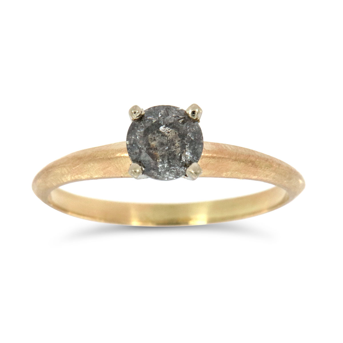 14K Yellow Gold Aghata Salt & Pepper Diamond Ring ( Center- 0.69 ct)