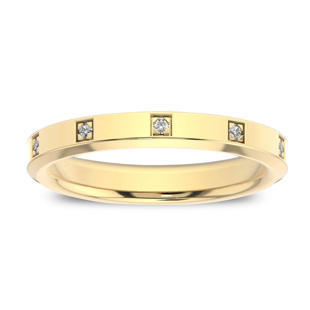 14K Yellow Gold Vivian Beveled Edge Eternity Diamond Ring (1/10 ct. tw)