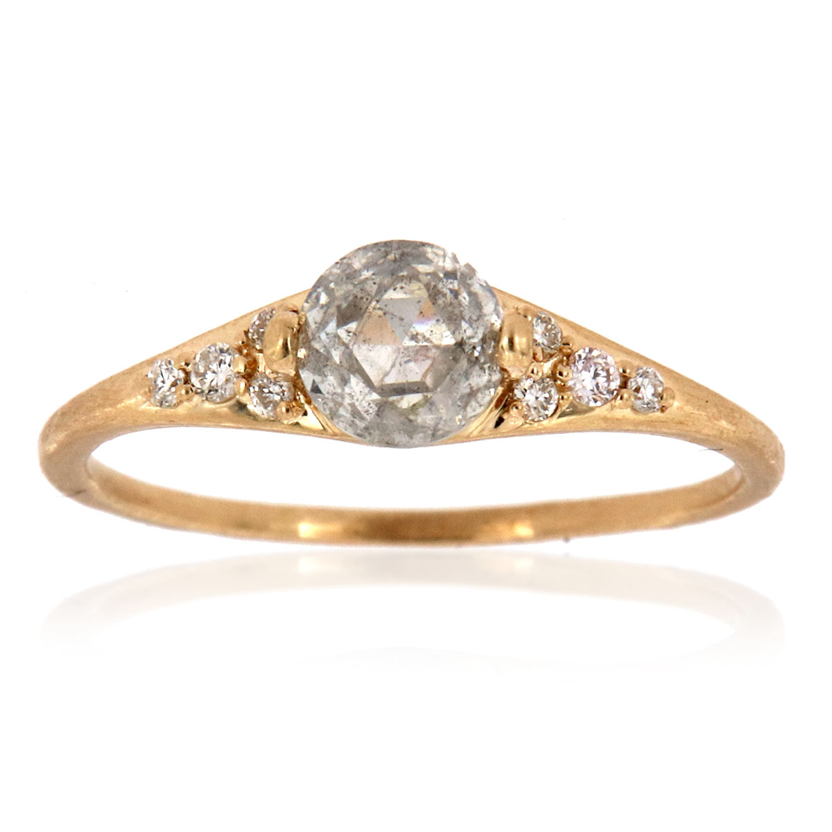 14K Yellow Gold Orsa Rustic Design Salt & Pepper Rose Cut Diamond Ring ( Center-0.65 Carat)