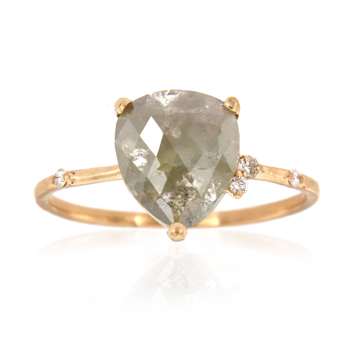 14K Yellow Gold Brook Icey Pear Delicate Rustic Earthy Design Diamond Ring ( Center -1.59 Carat)