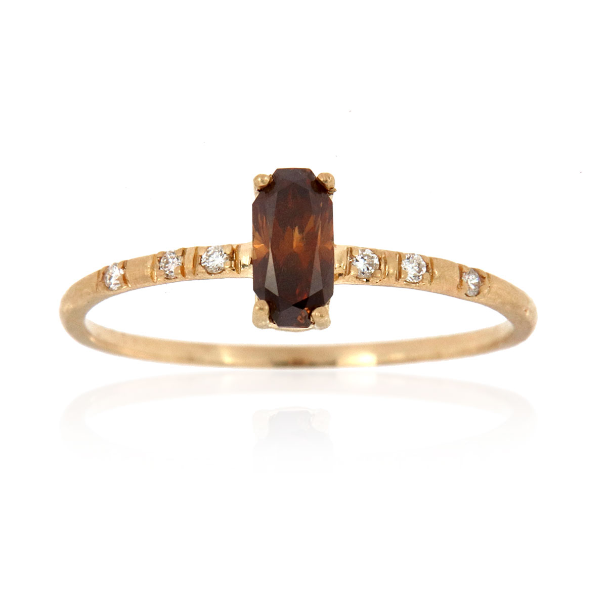 14K Yellow Gold Delicate Rustic Design Octagon Champagne Color Diamond Ring ( Center-0.37 Carat)