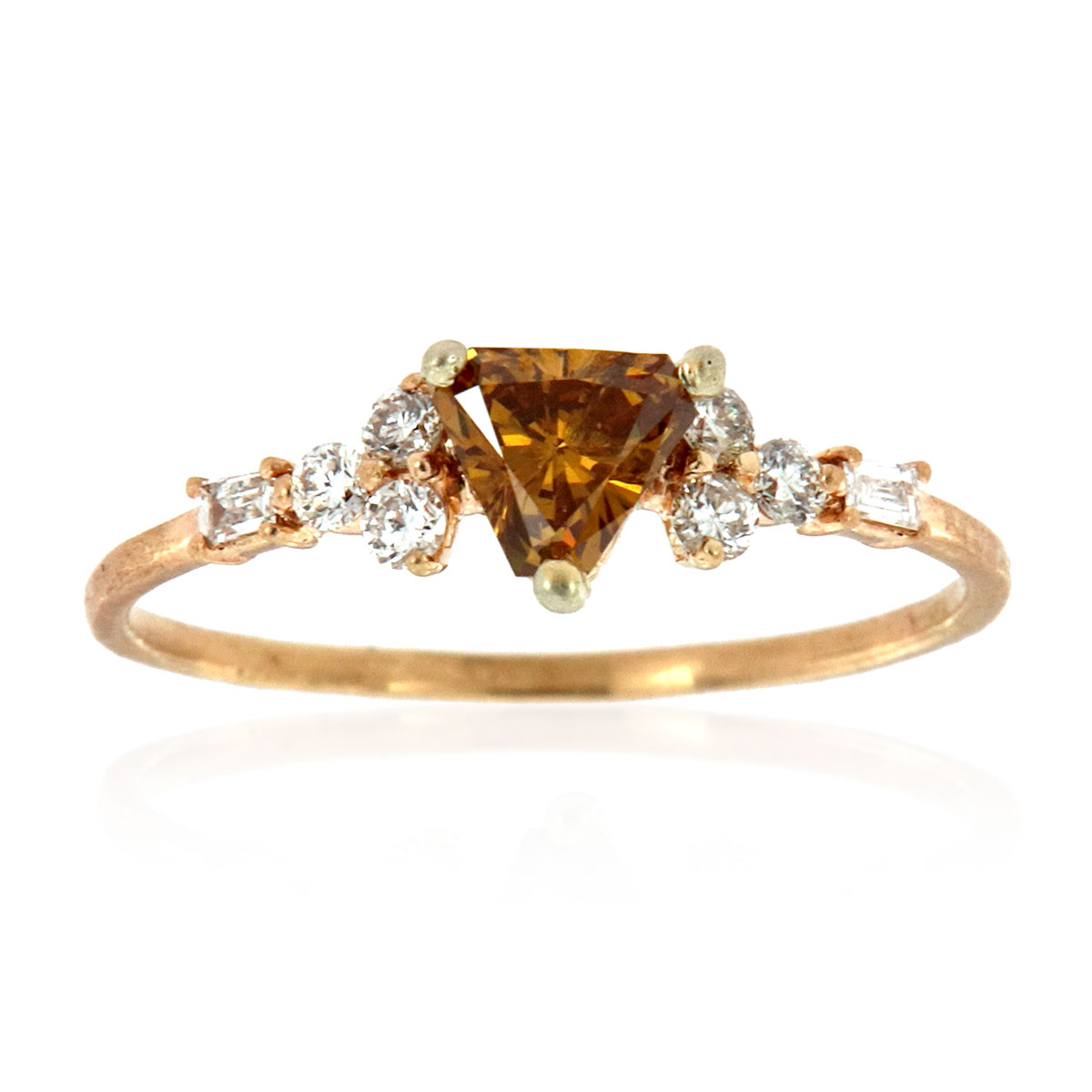 14K Yellow Gold Orna Rustic Design Champagne Color Diamond Ring ( Center-0.37 Carat)