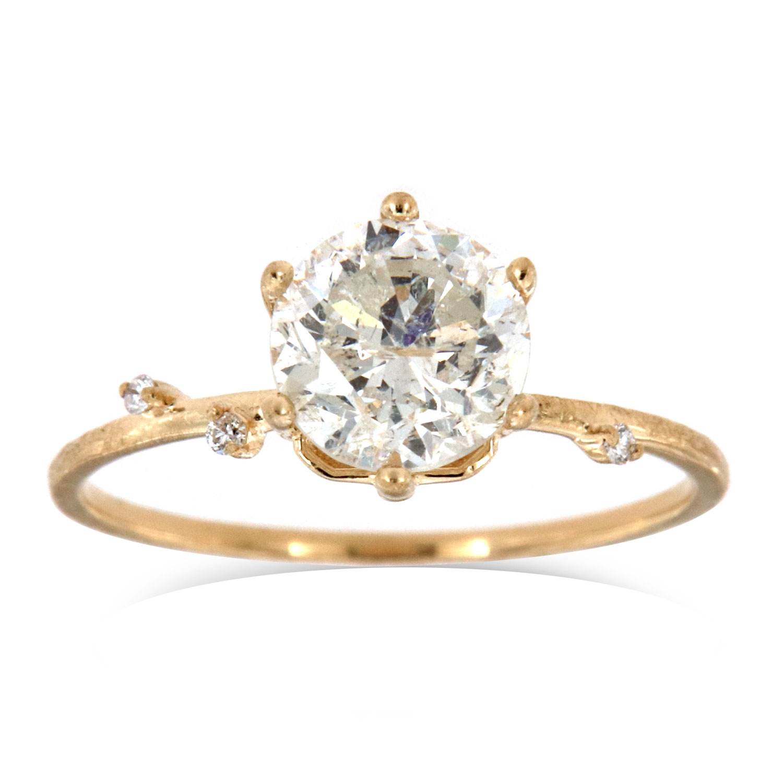 14K Monice Rustic Organic Round Diamond Ring (Center - 1.48 Carat)