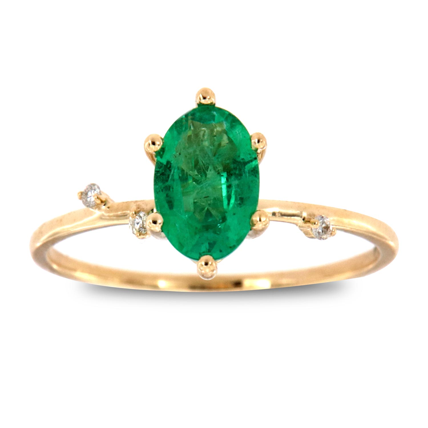 14K Yellow Gold Monice Oval Green Emerald Organic Vintage Fashion Ring (Center-2/3 ct)
