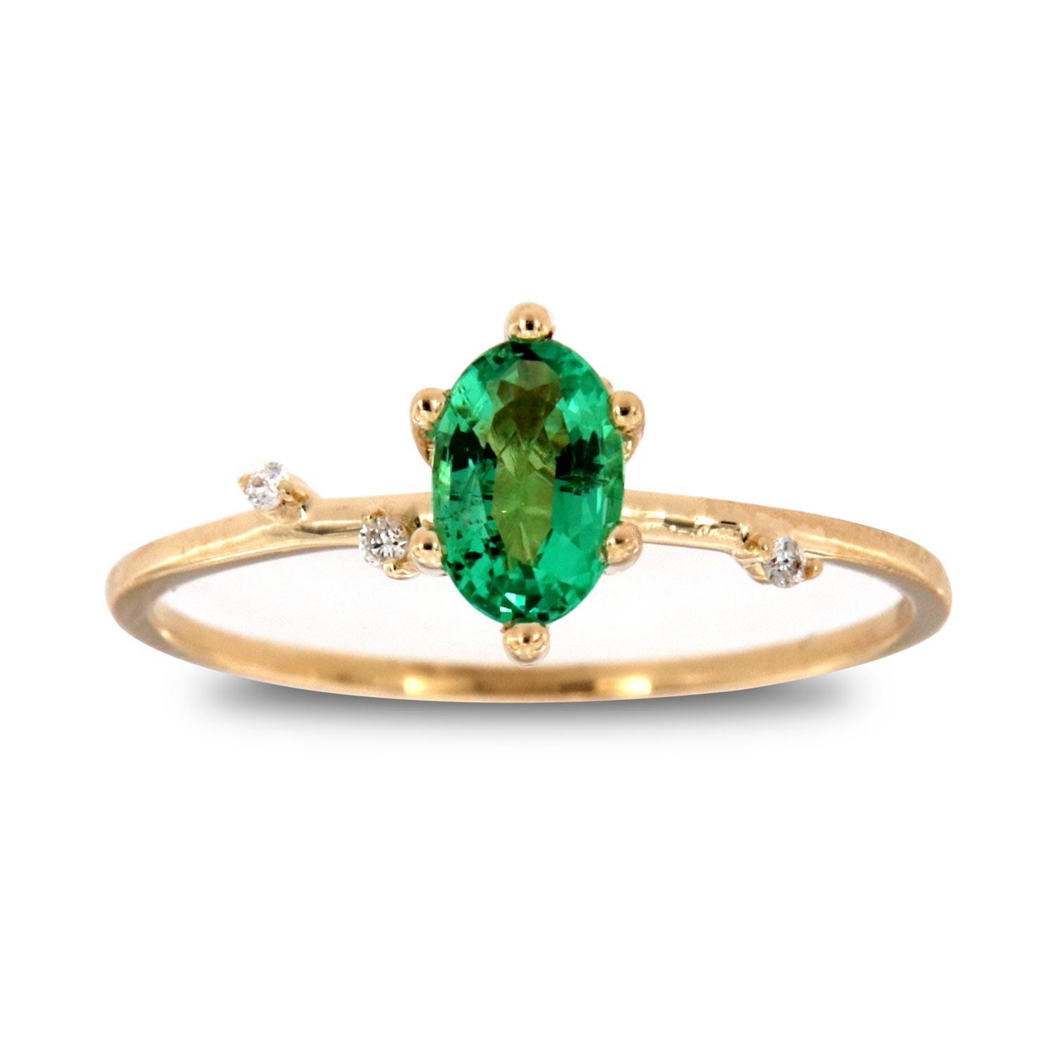 14K Yellow Gold Monice Oval Green Emerald Organic Vintage Fashion Ring ( Center-1/2 ct.)