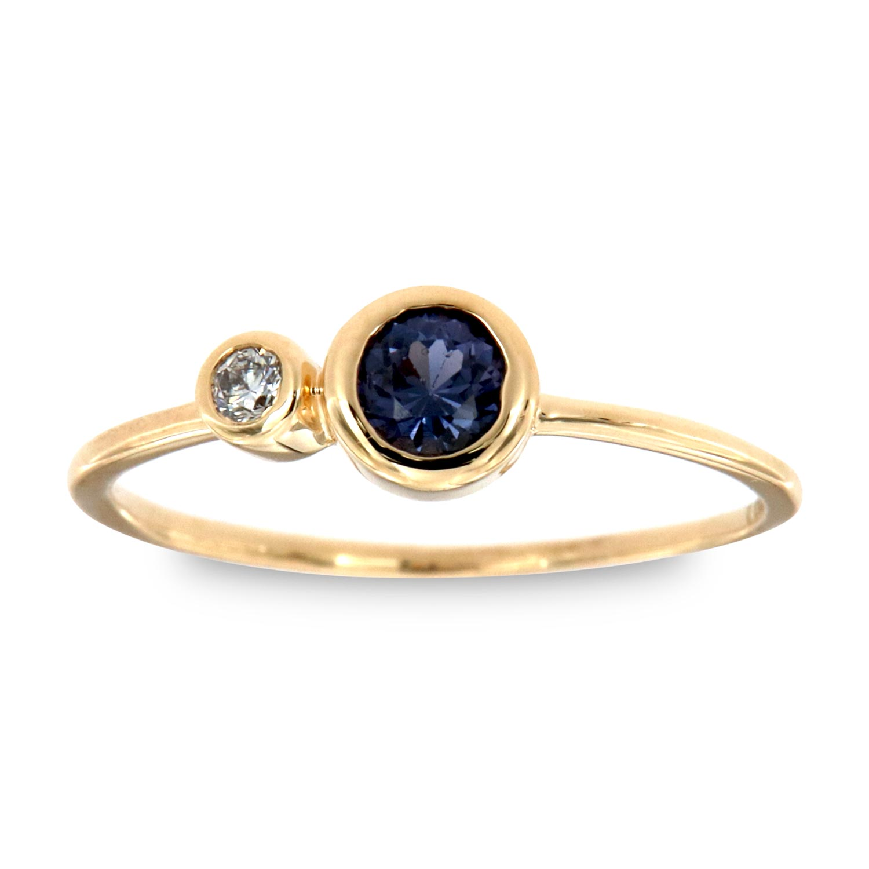 14K Yellow Gold Shimrit Round Blue Sapphire & Diamond Vintage Ring ( Center -1/4 ct.)