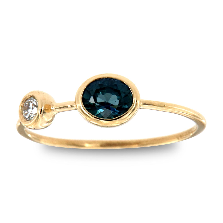 14K Yellow Gold Darlini Oval Blue Sapphire & Diamond Vintage Ring (Center - 1/2 ct.)