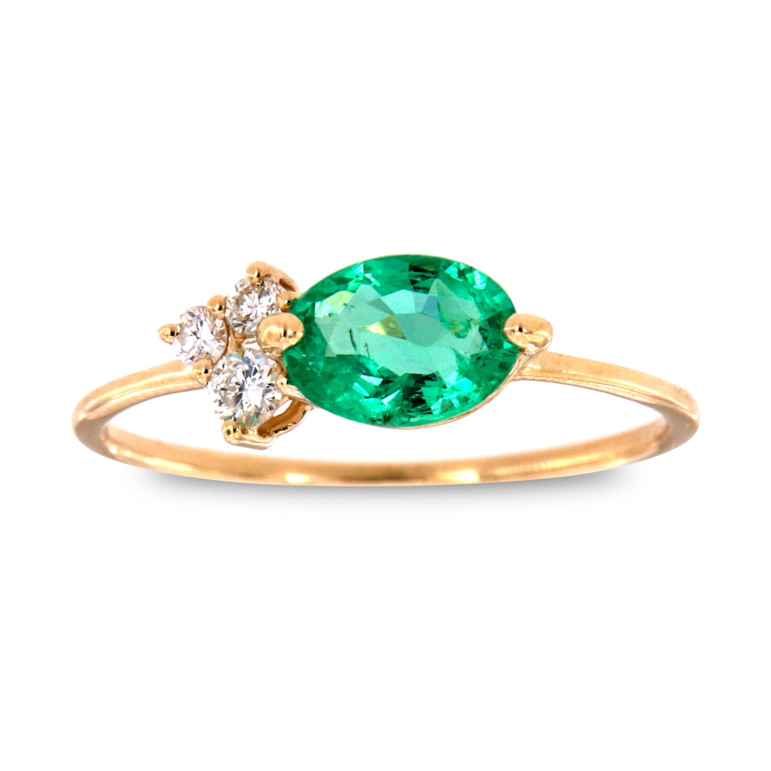 14K Yellow Gold Mophaz Oval Green Emerald Rustic Vintage Diamond Ring  ( Center-2/3 ct.)