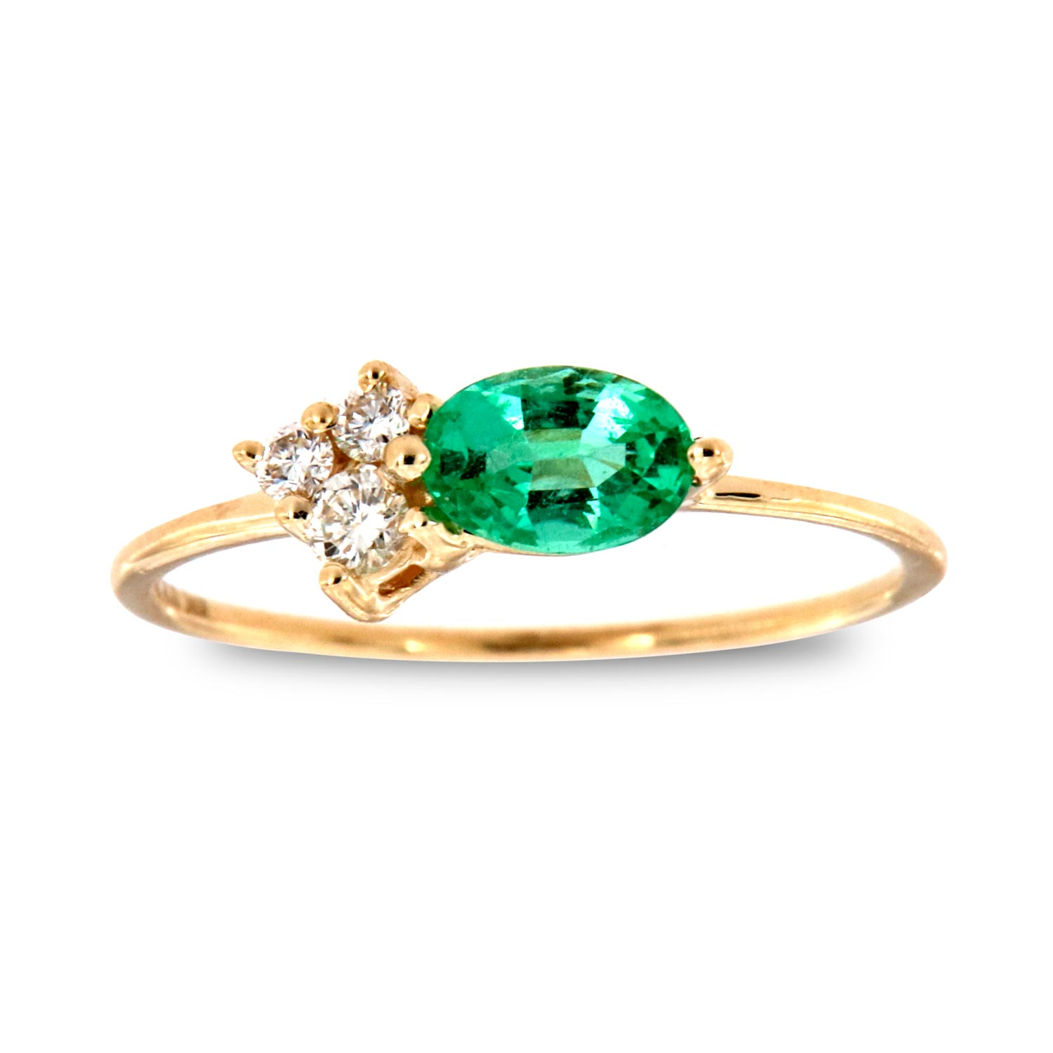 14K Yellow Gold Mophaz Oval Green Emerald Rustic Vintage Diamond Ring ( Center-1/2 ct.)