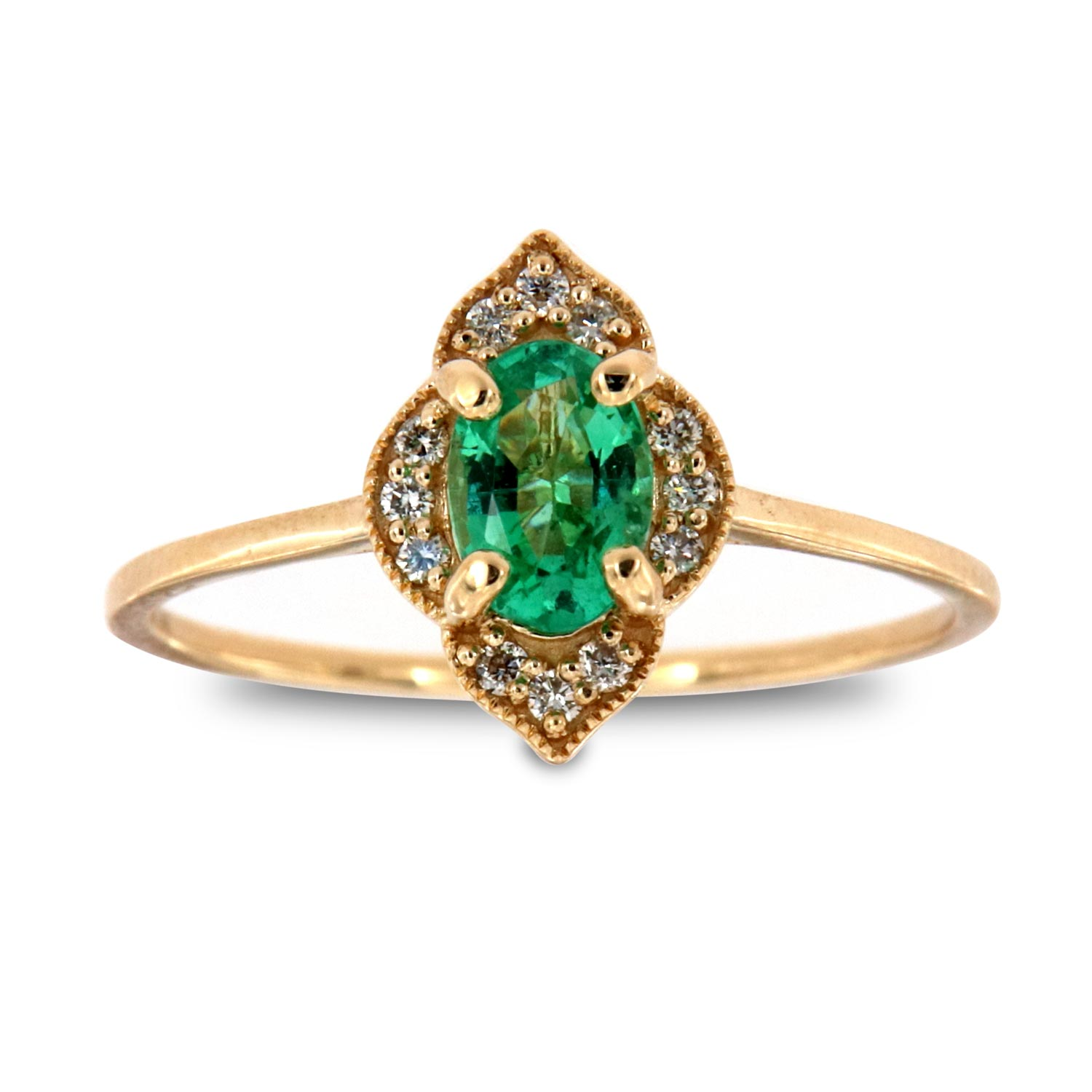14K Yellow Gold Petite Rosolena Oval Green Emerald Rustic Vintage Halo Diamond Ring  (Center-2/5 ct.)