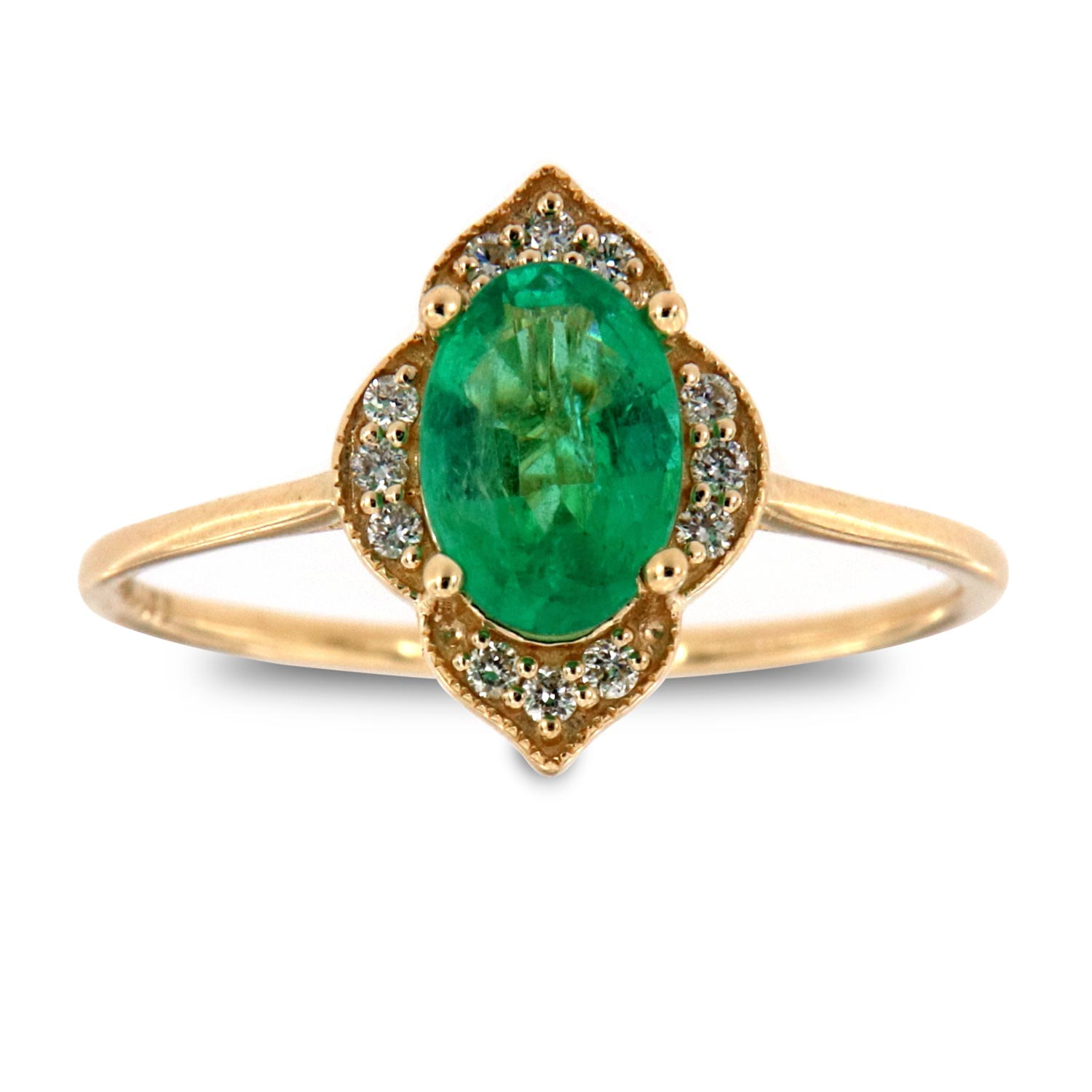 14K Yellow Gold Petite  Rosolena Oval Green Emerald Rustic Vintage Halo Diamond Ring  ( Center-3/4 ct.)