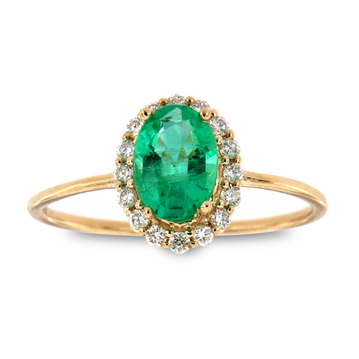 14K Yellow Gold Petite Cedrus Oval Green Emerald Halo Diamond Ring ( Center-3/4 ct.)