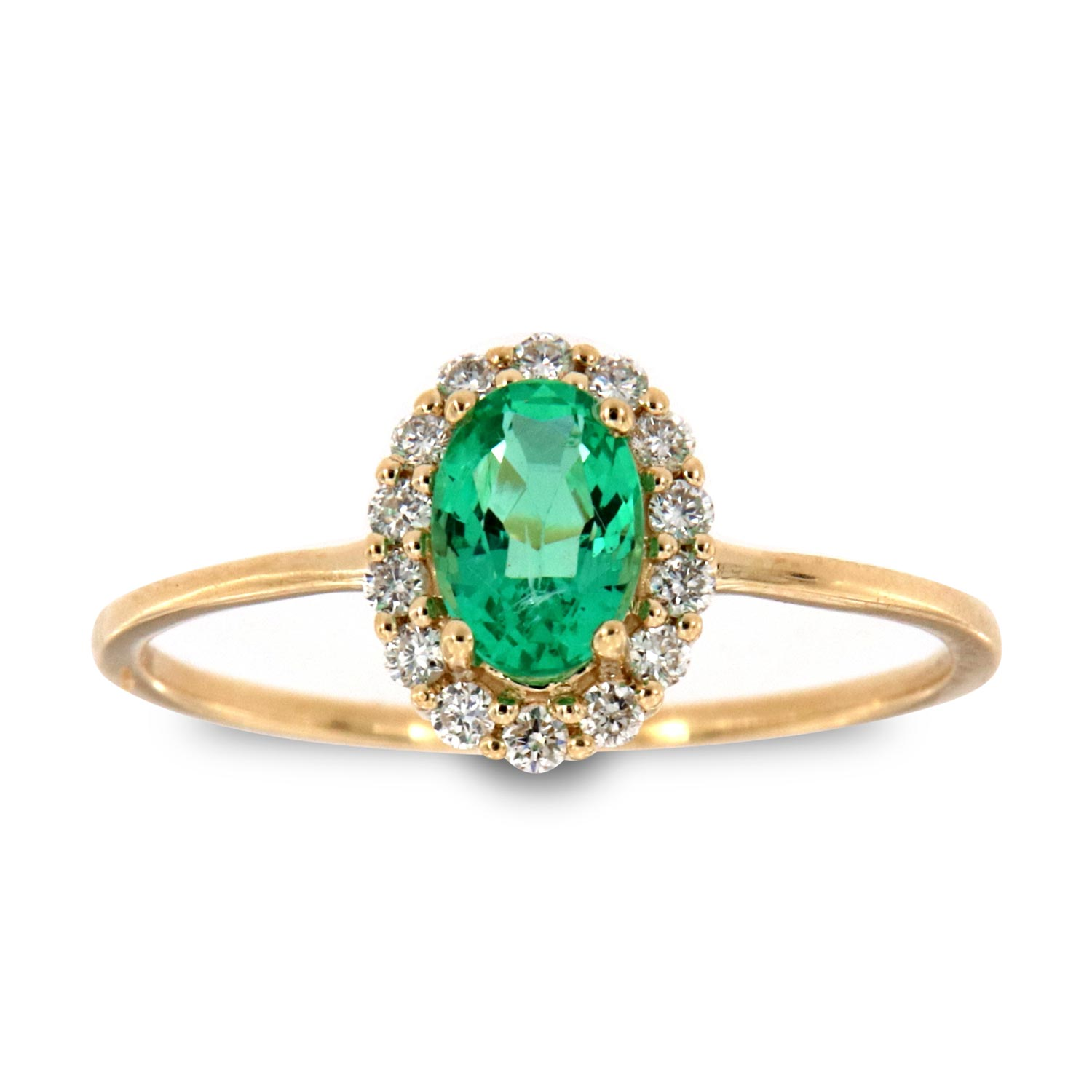 14K Yellow Gold Petite Cedrus Oval Green Emerald Halo Diamond Ring ( Center-1/2 ct.)