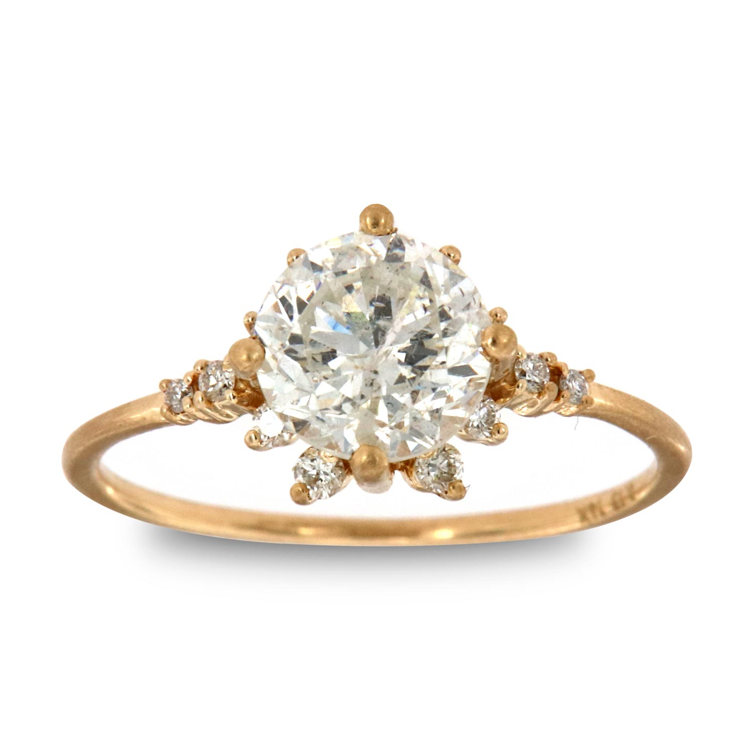 14K Yellow Gold Sarina Earthy Rustic Vintage Diamond Ring (Center - 1.48 ct.)