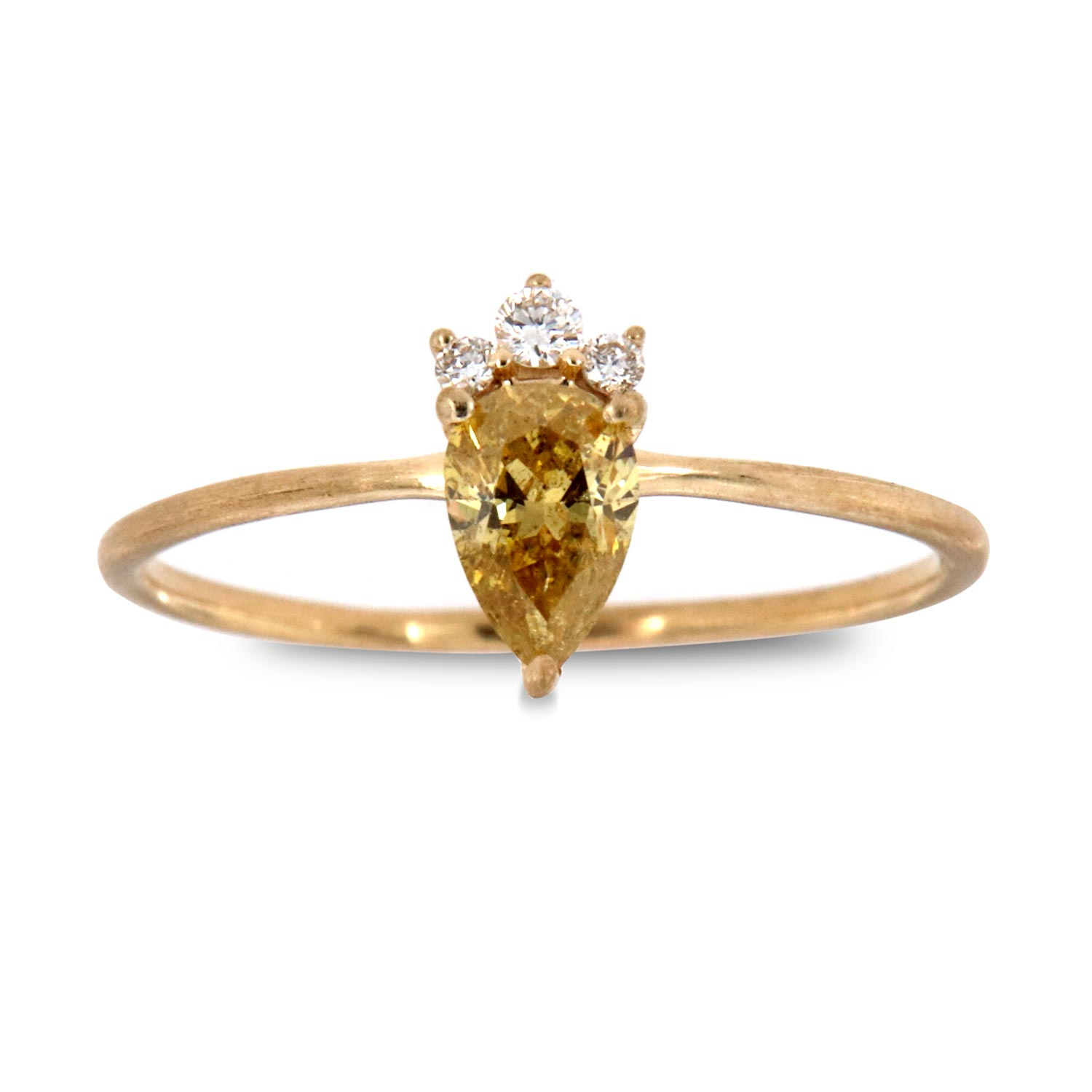 14K Yellow Gold Petite Ravit Pear Fancy Intense Yellow Rustic Vintage Diamond Ring (Center - 1/3 ct)