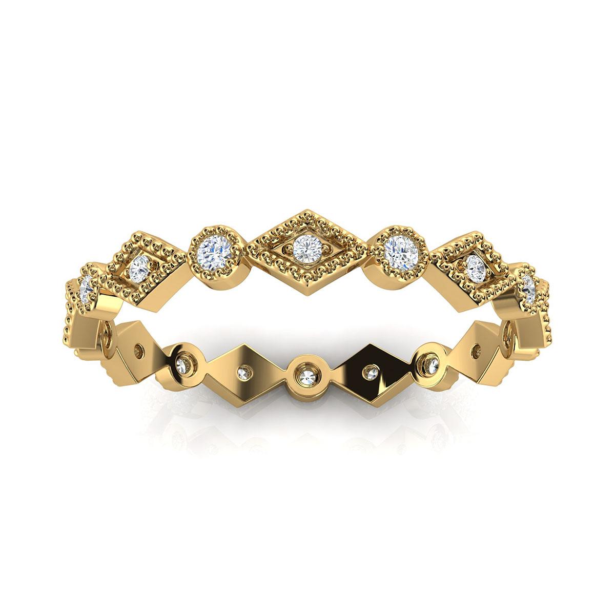 14K Yellow Gold Delicate Nilian Milgrain Eternity Diamond Ring (1/10 ct. tw)
