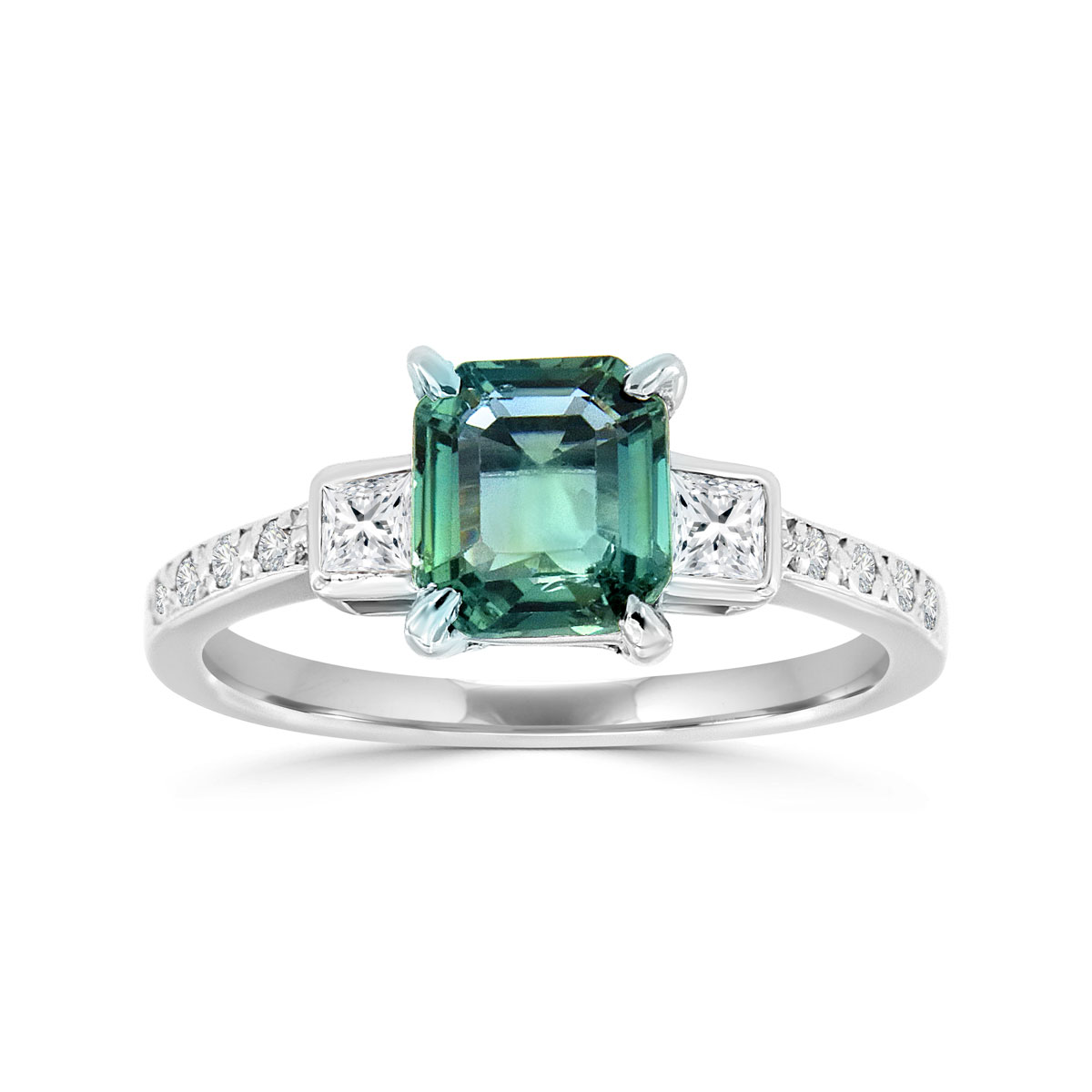 Platinum Emerald Shape Teal Sapphire & Diamond Ring ( Center-1.37 Carat)