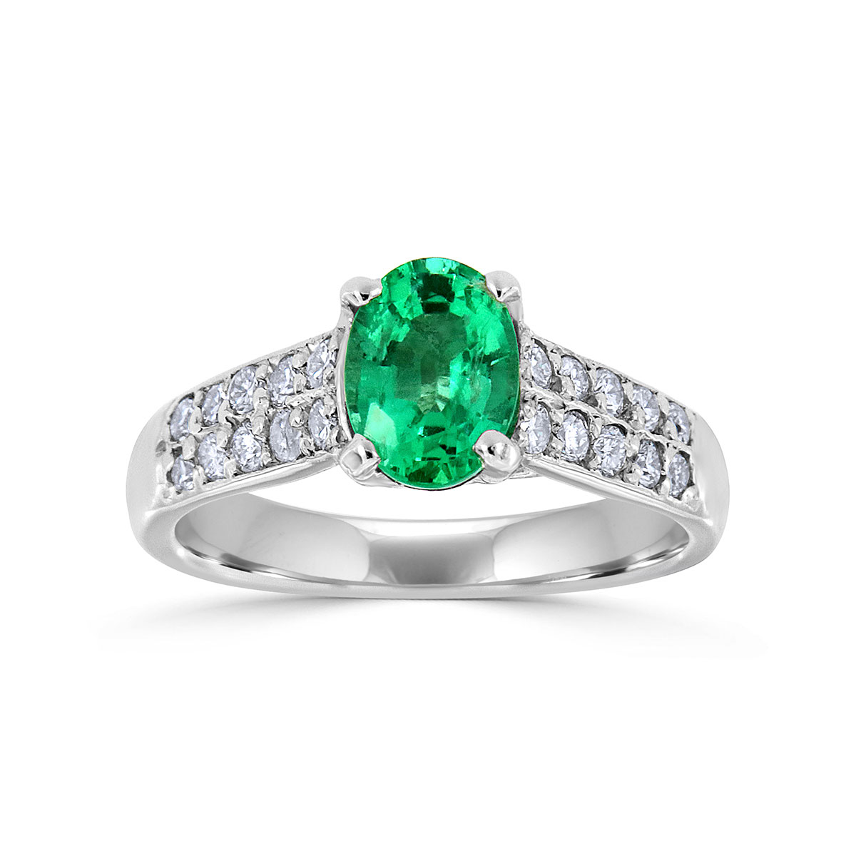 Platinum Oval Green Emerald & Diamond Ring ( Center- 0.93 Carat)
