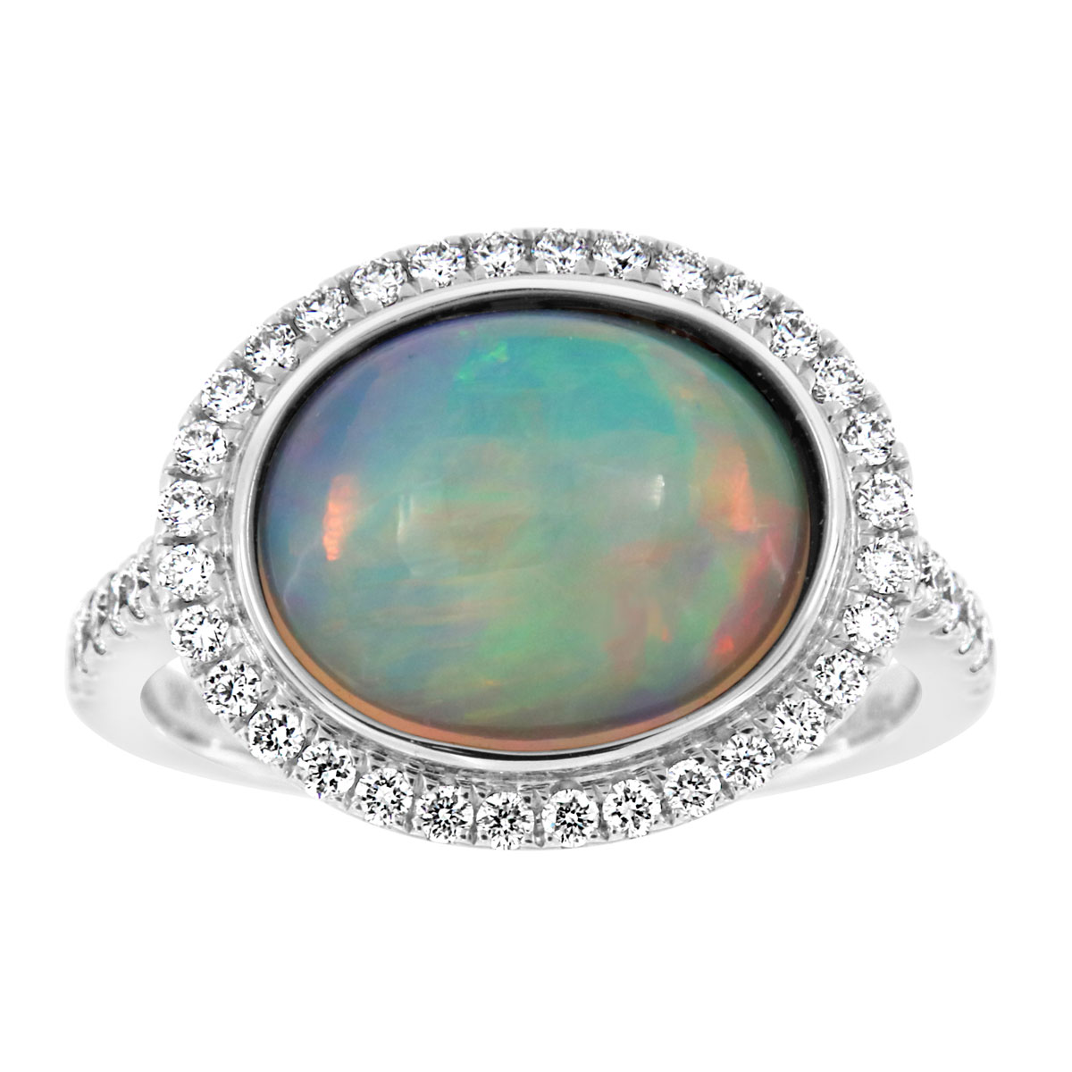 18K White Gold White Opal Ring (3 1/4 ct .tw)