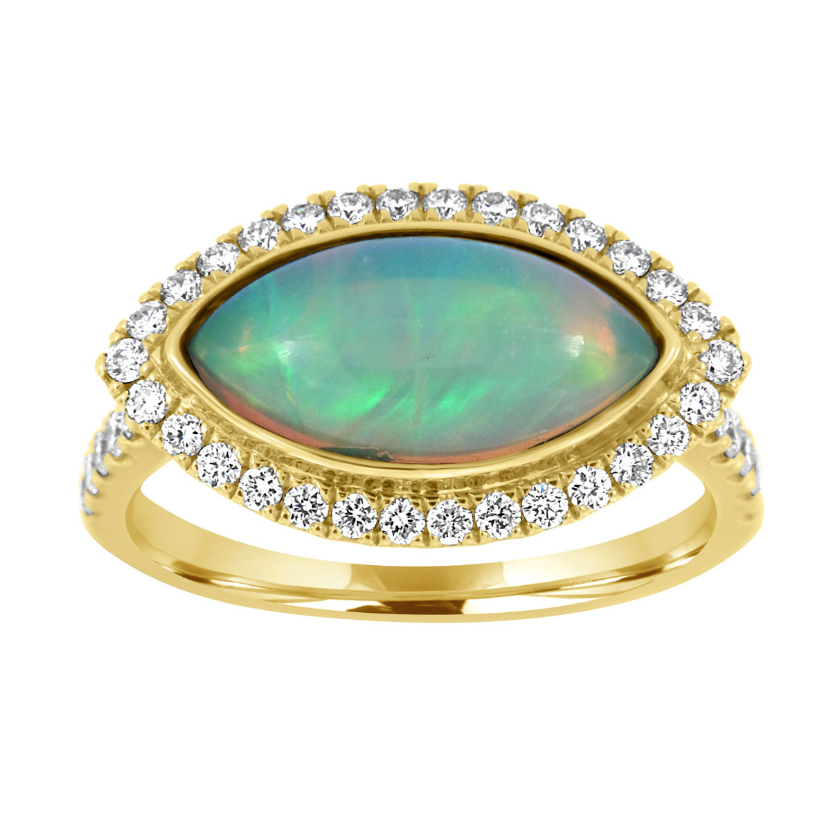 18K Yellow Gold White Opal Ring (2 1/4 ct .tw)