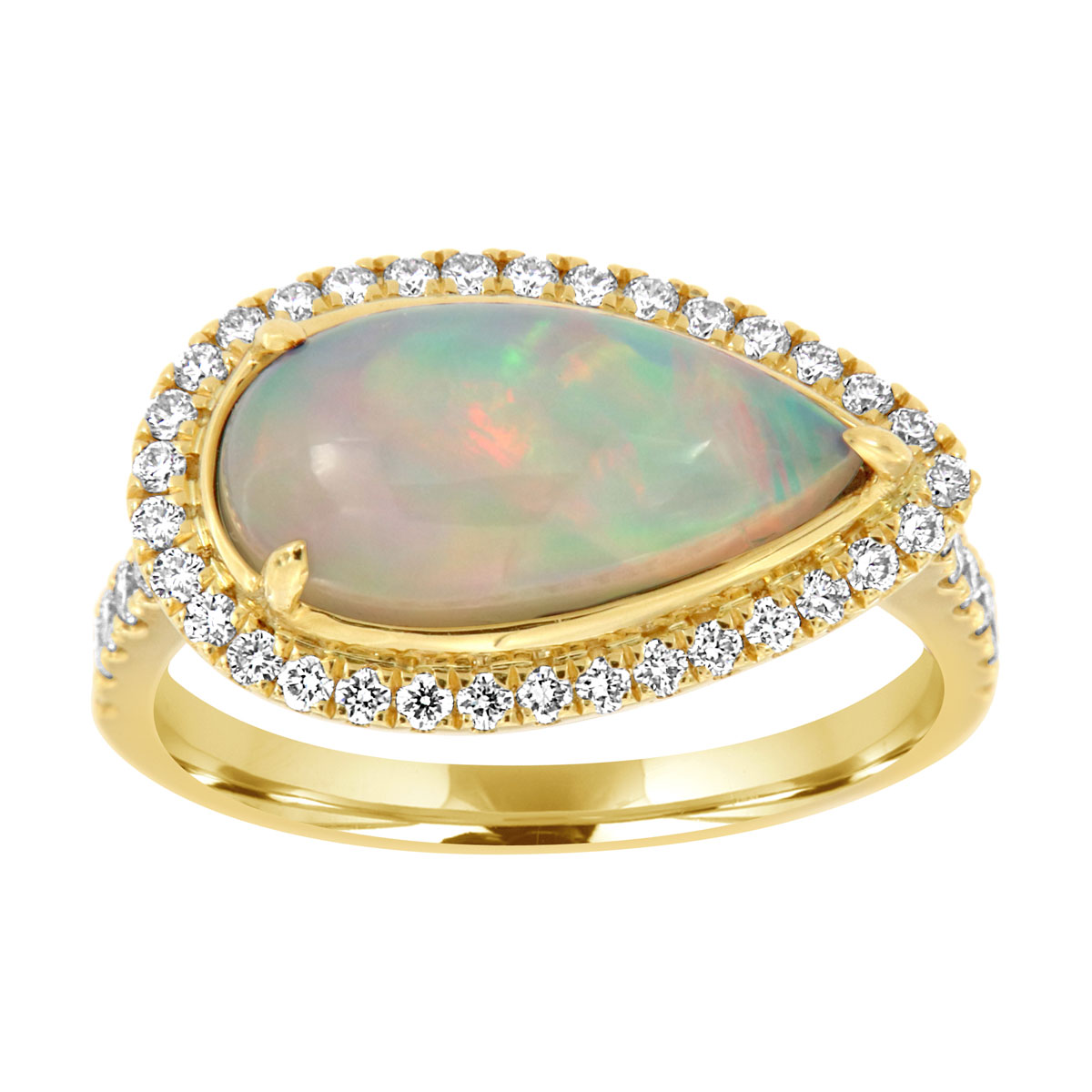 18K Yellow Gold White Opal Ring (3 ct .tw)