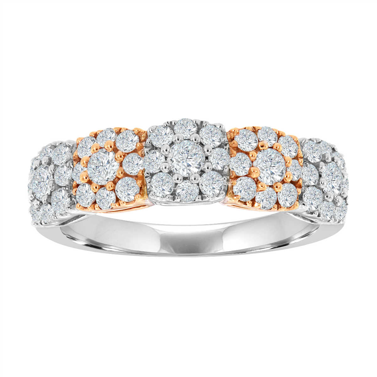 18K White  Gold Two Tone Halo Fashion Ring ( 1 ct. tw.)