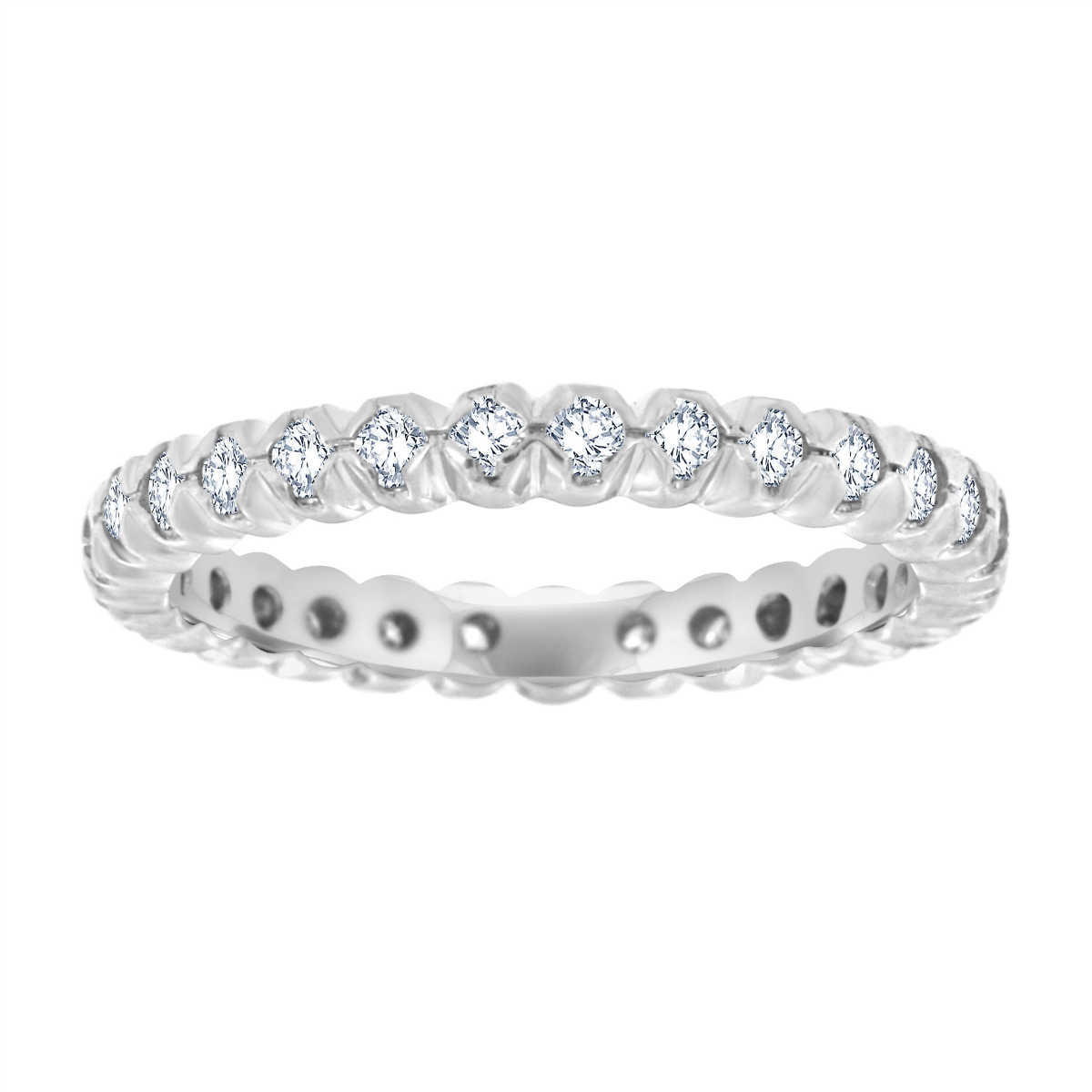 Platinum Flush Prong set Diamond Eternity Ring  ( 2/3 ct. tw.)