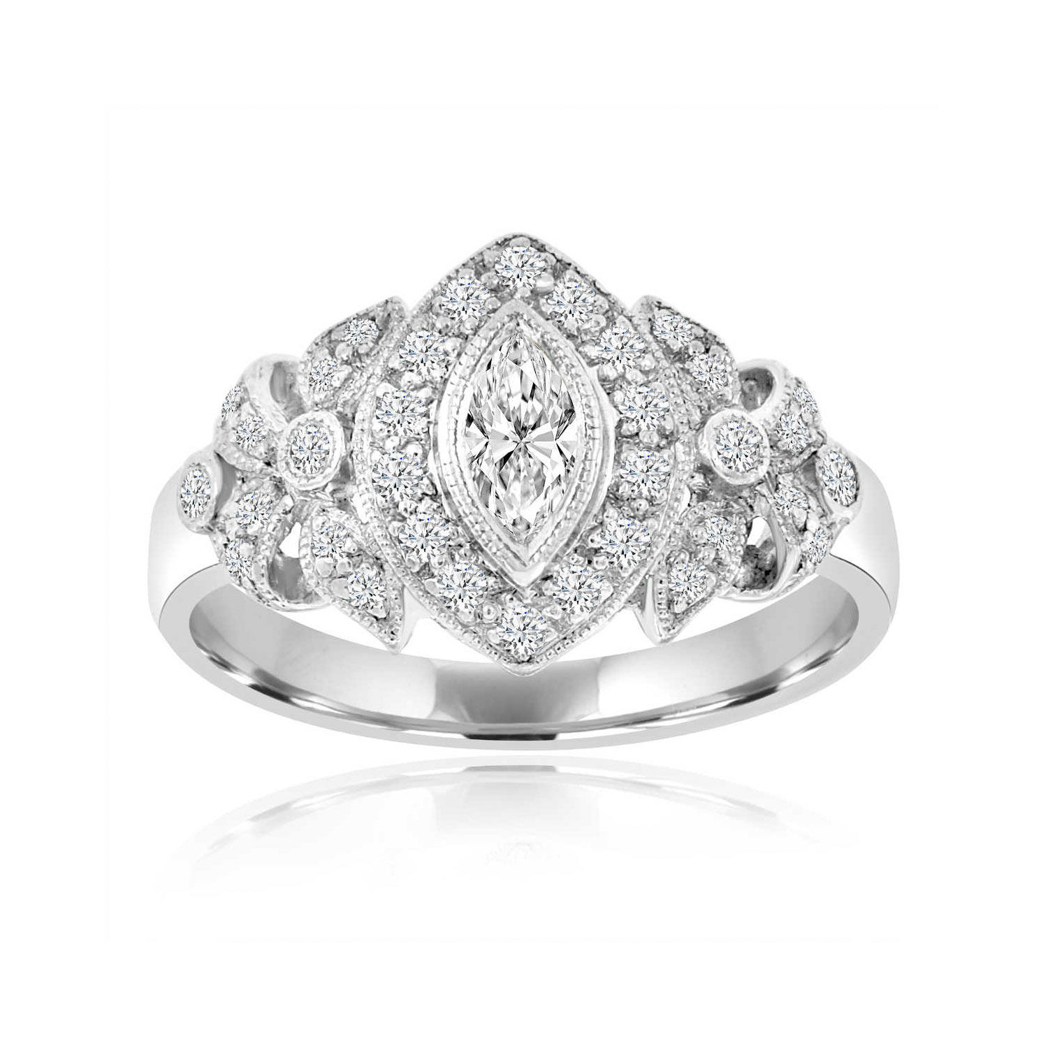 18K White Gold Vintage Marquise Diamond Ring ( 0.52 ct. tw)
