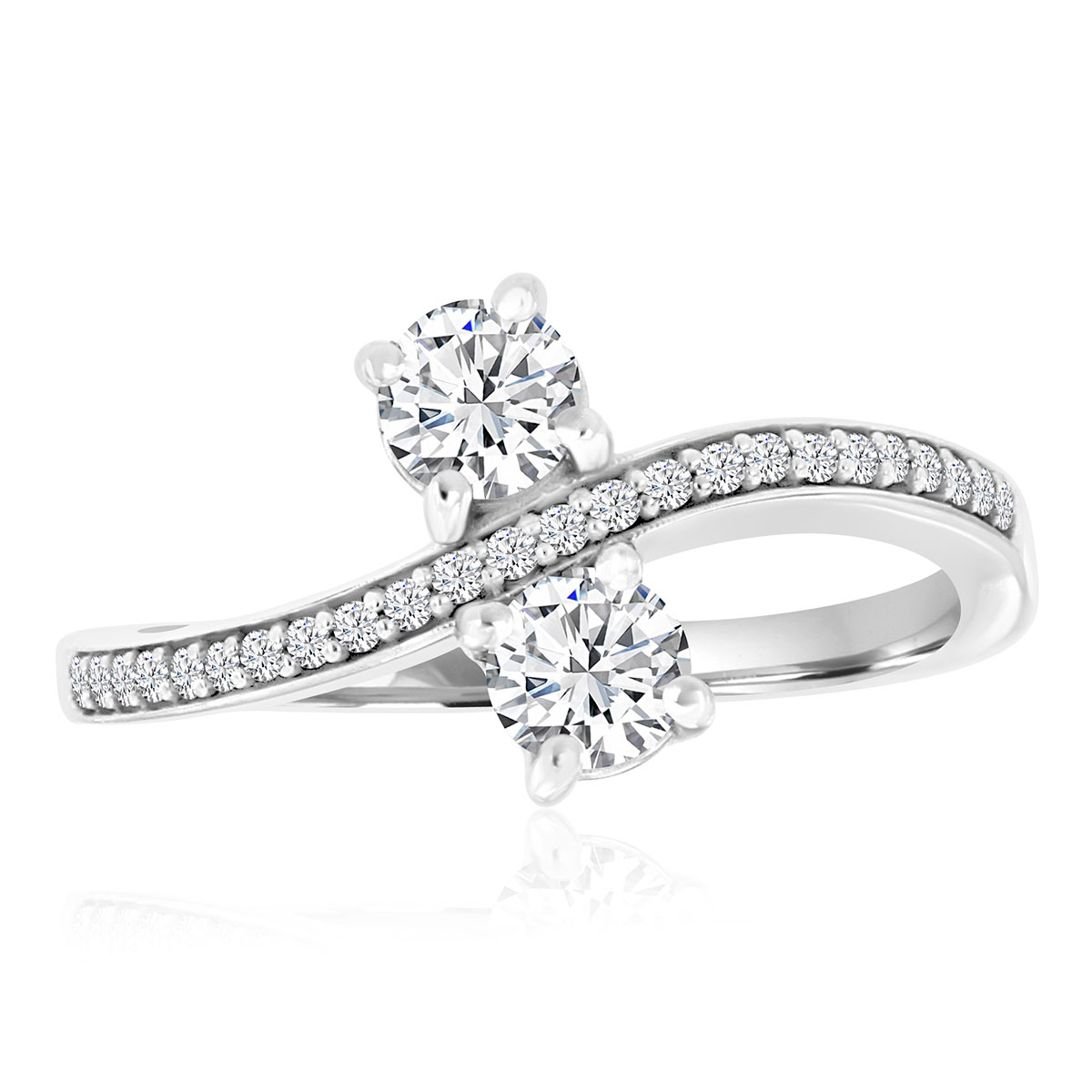 14K White Gold Eclipse Curve Diamond Ring ( 3/4 ct. tw)
