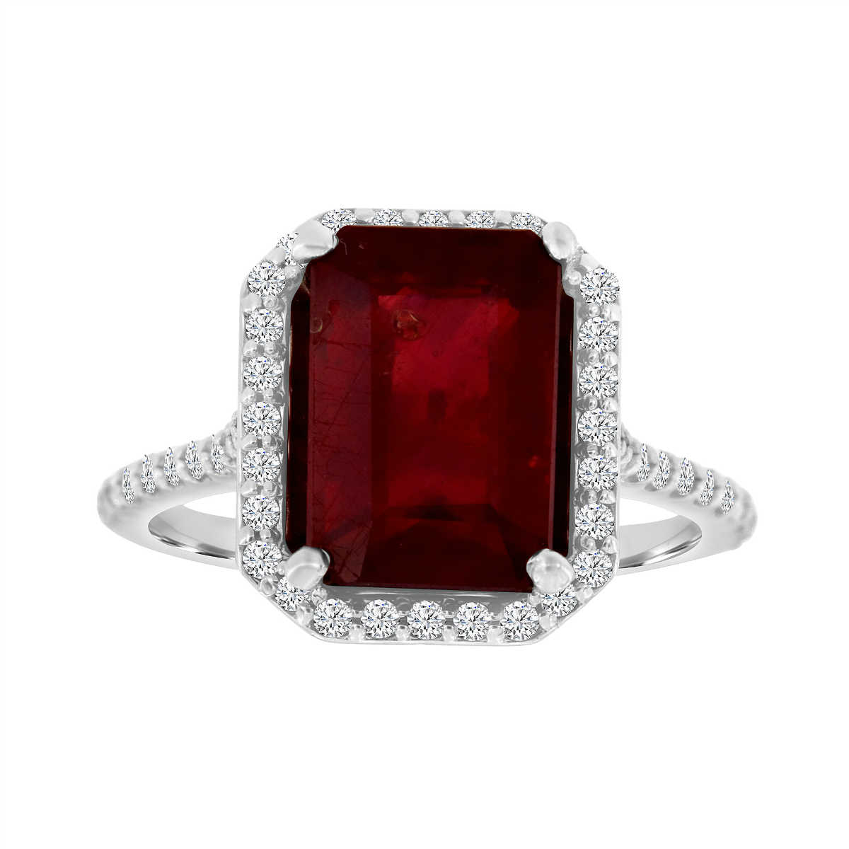 14K White Gold Emerald Lab Grown Ruby & Diamond Halo Ring ( Center- 5.62 Carat)
